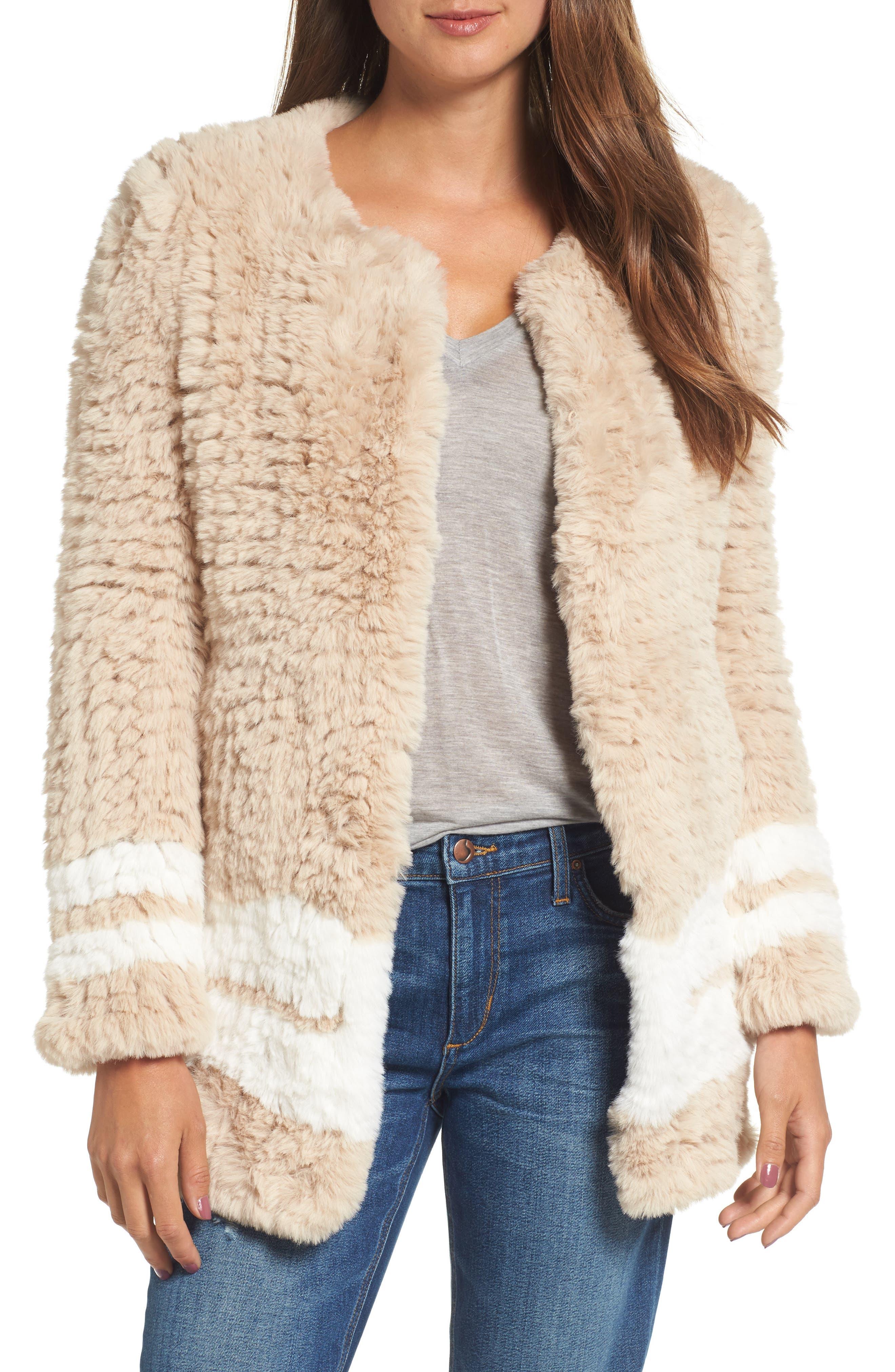 Faux Fur Jacket,                             Main thumbnail 1, color,                             Beige