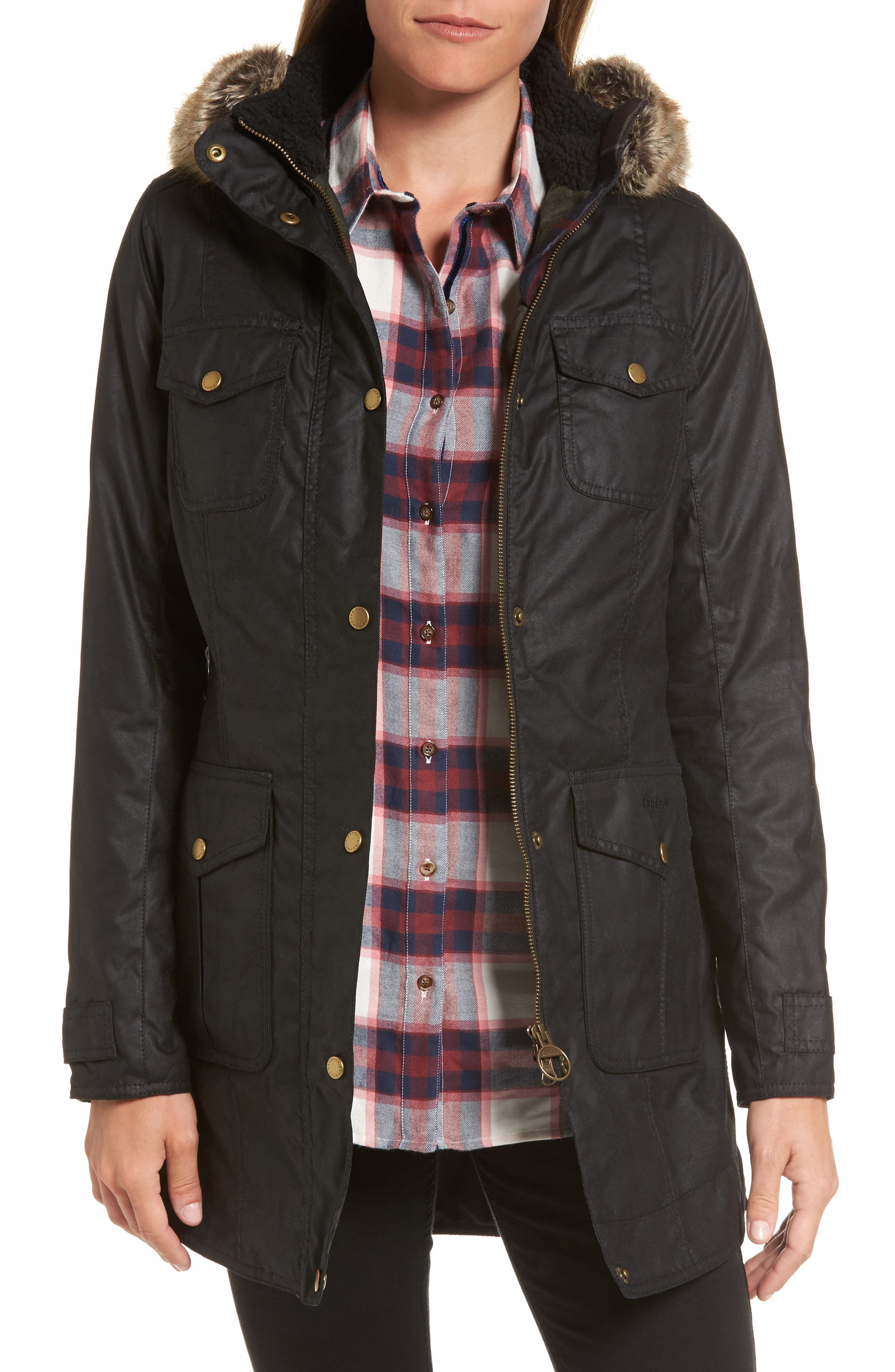 Barbour Ashbridge Hooded Waxed Canvas Jacket with Faux Fur Trim