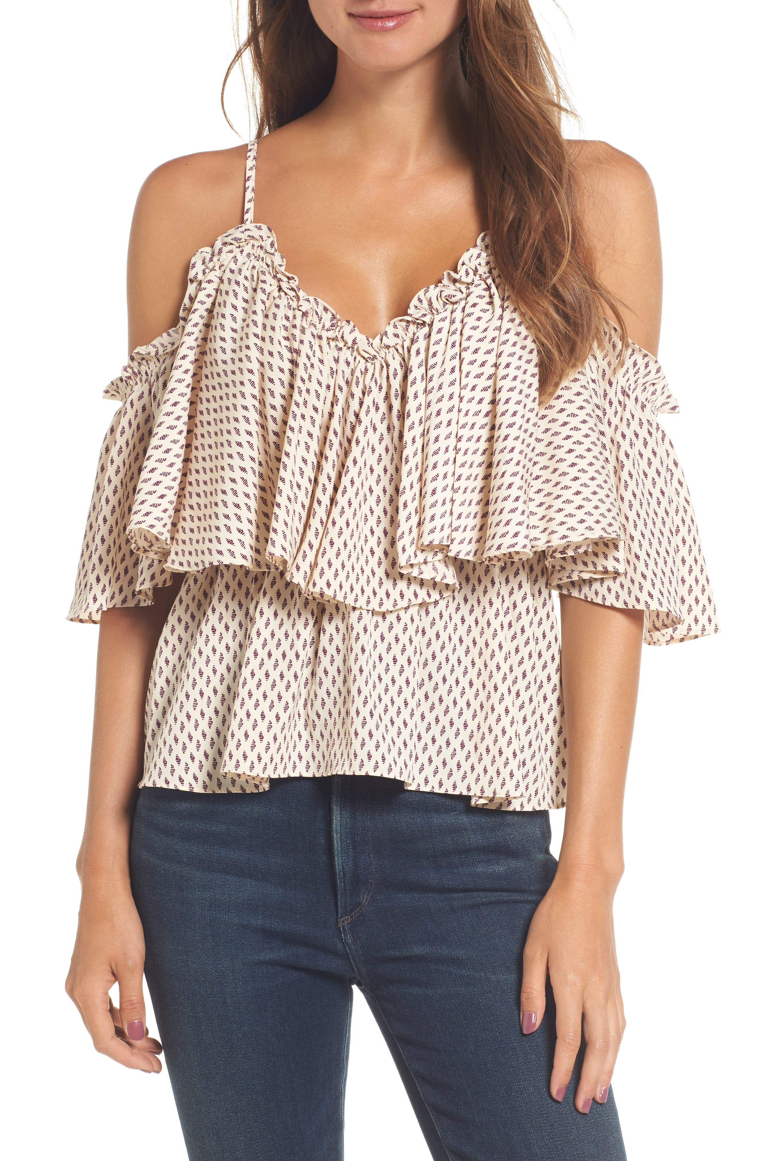 Carole Off the Shoulder Top,                             Main thumbnail 1, color,                             Ivory/ Burgundy