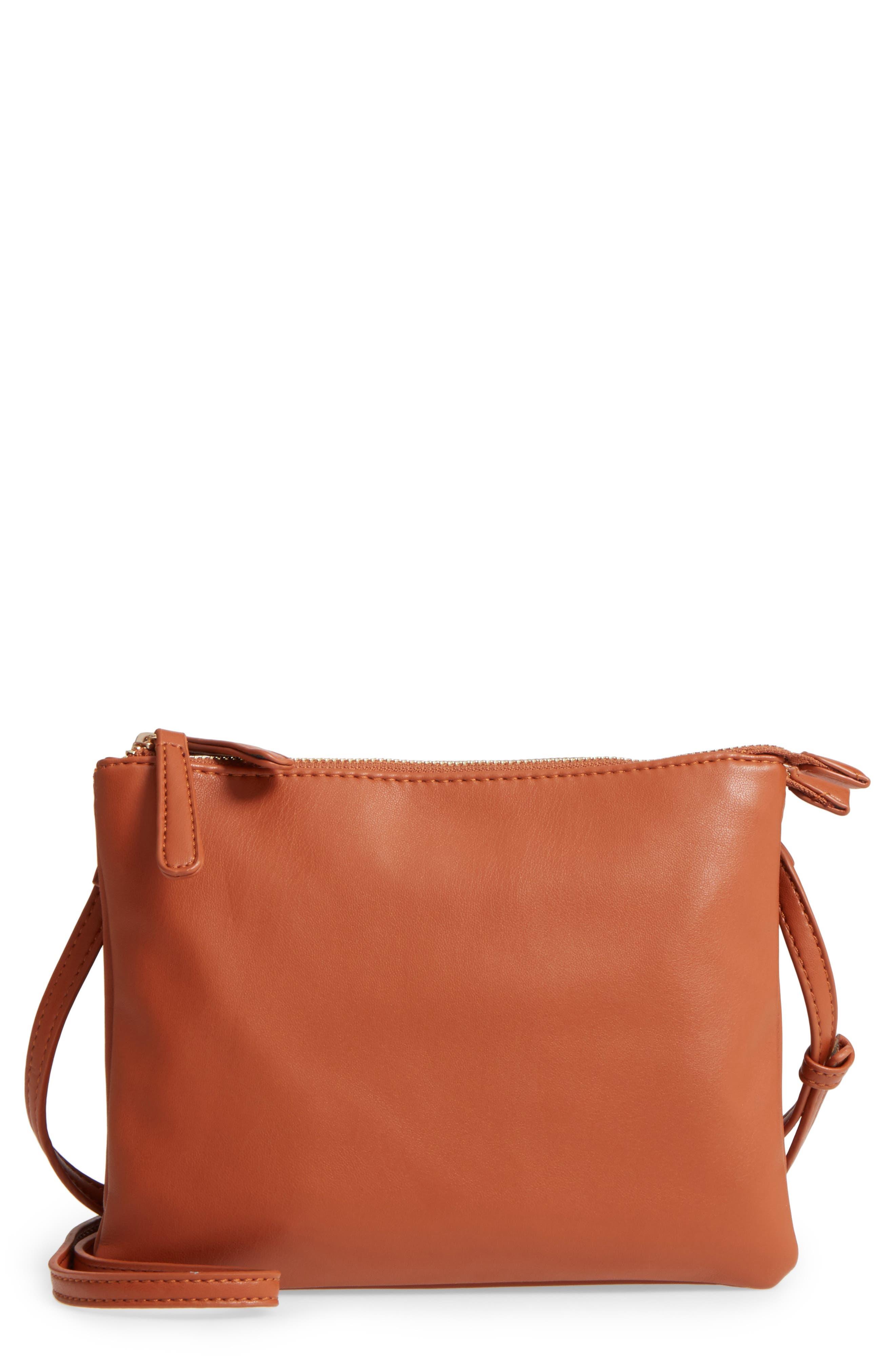 Madden Faux Leather Pouch Crossbody Bag,                             Main thumbnail 1, color,                             Cognac