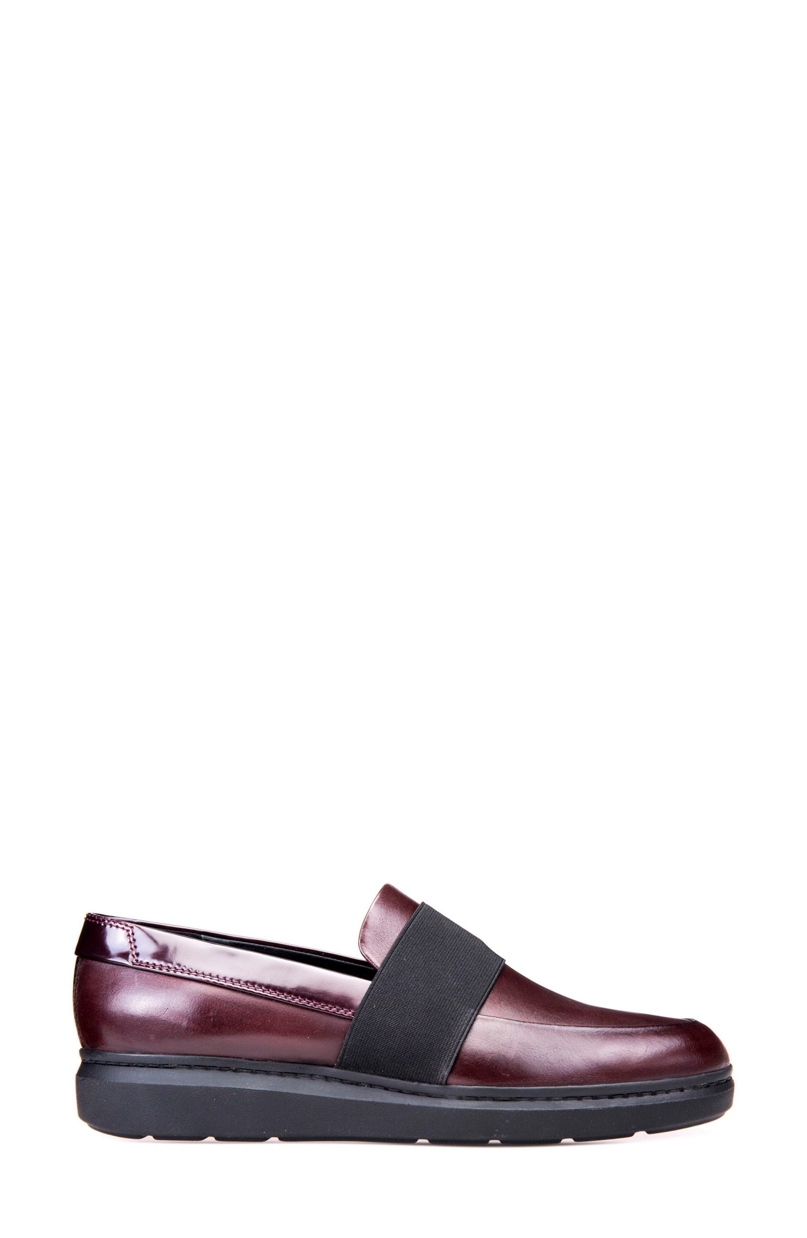 Jerrica Loafer,                             Alternate thumbnail 3, color,                             Dark Burgundy Leather