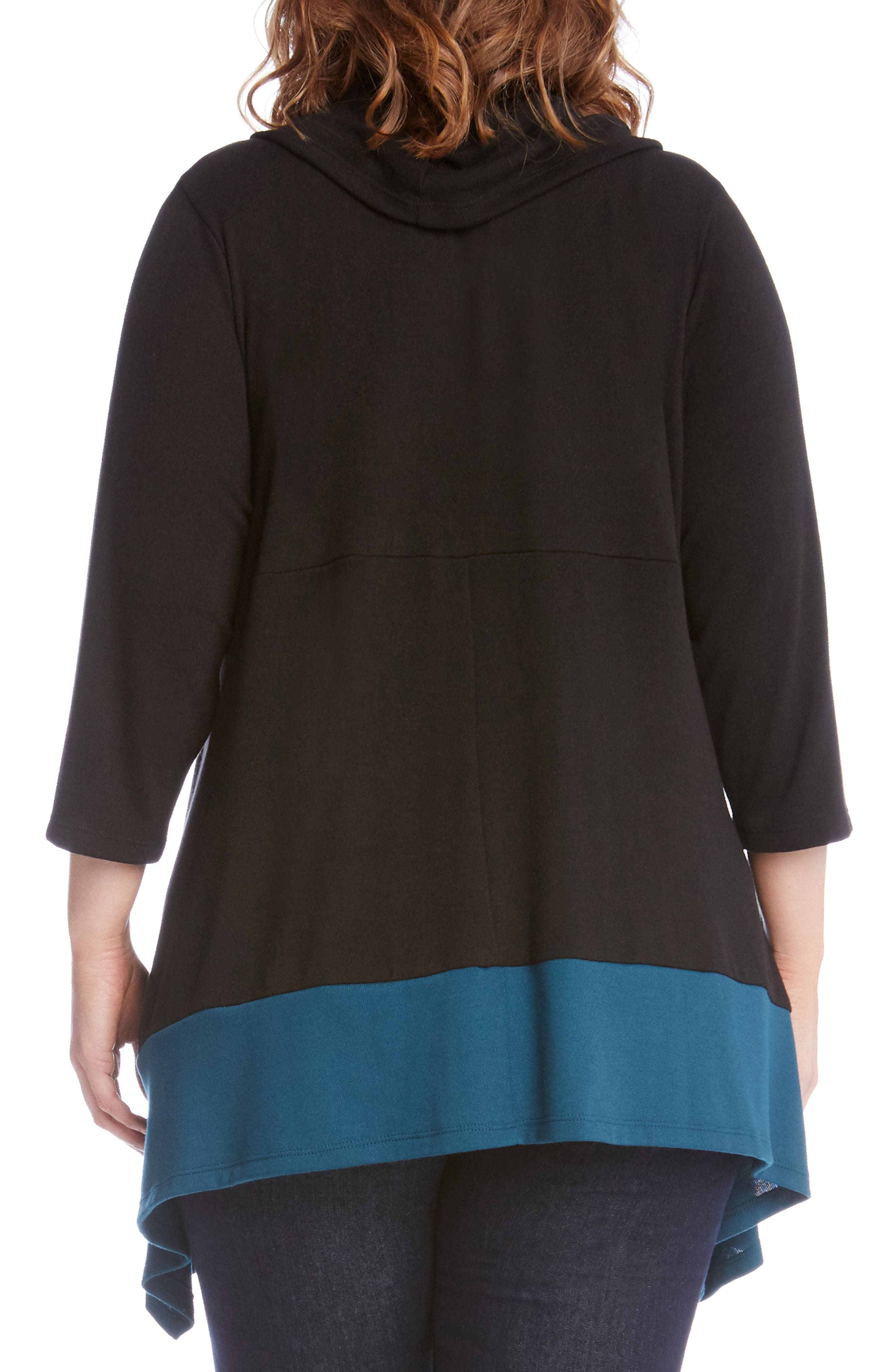 Colorblock Hem Sweater,                             Alternate thumbnail 2, color,                             Black With Teal