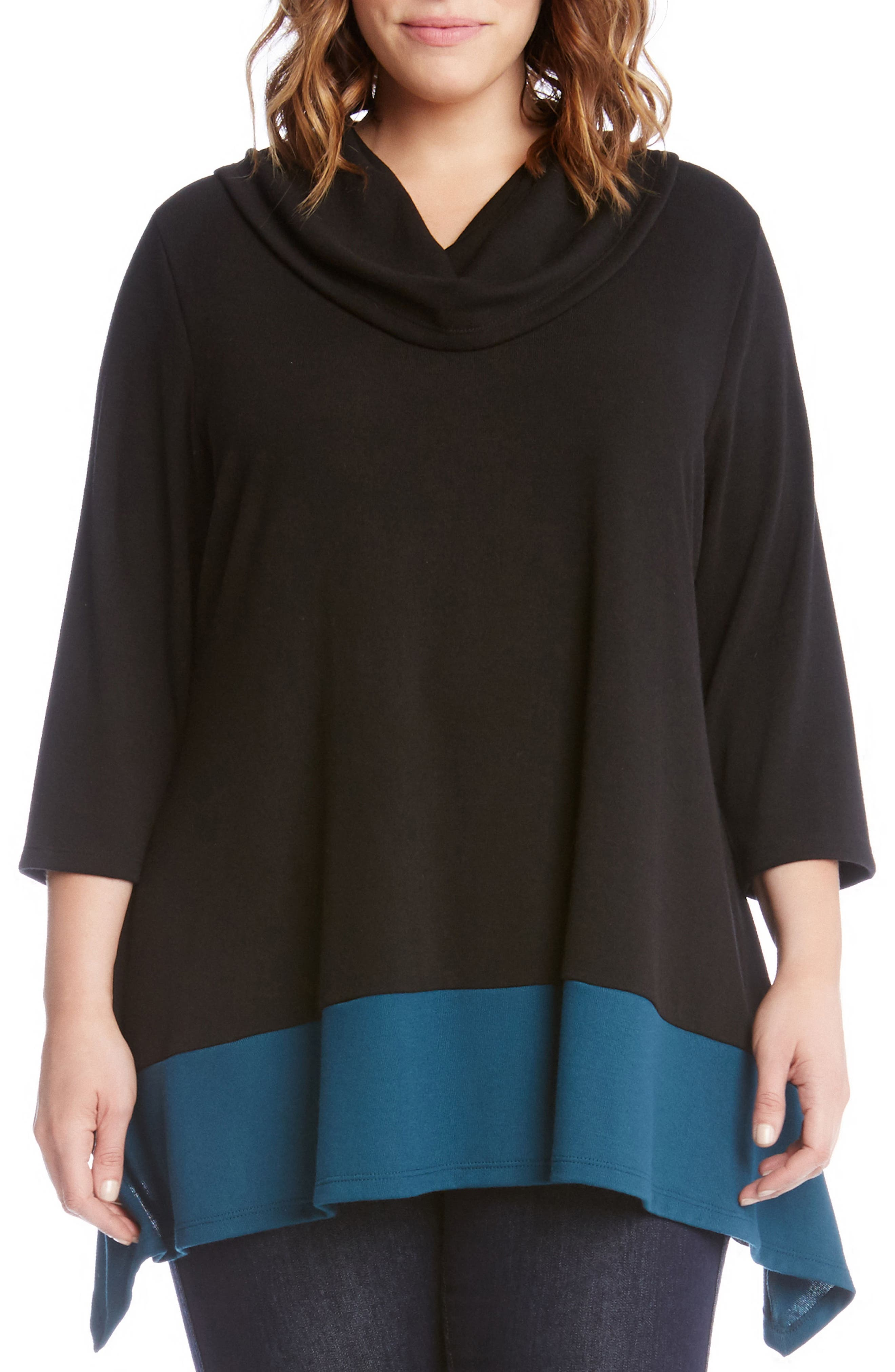 Colorblock Hem Sweater,                             Main thumbnail 1, color,                             Black With Teal