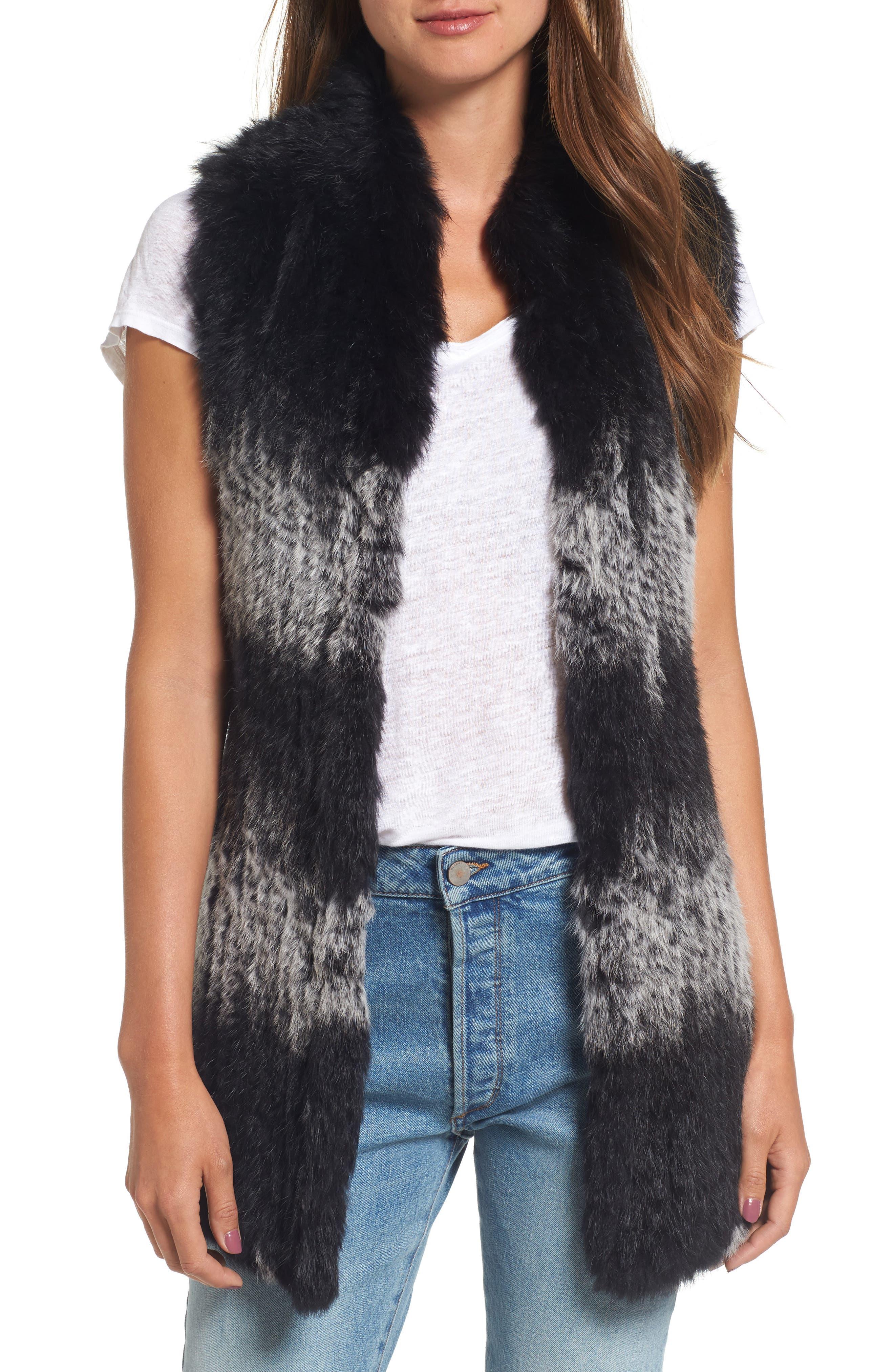 Main Image - Love Token Stripe Genuine Rabbit Fur Vest