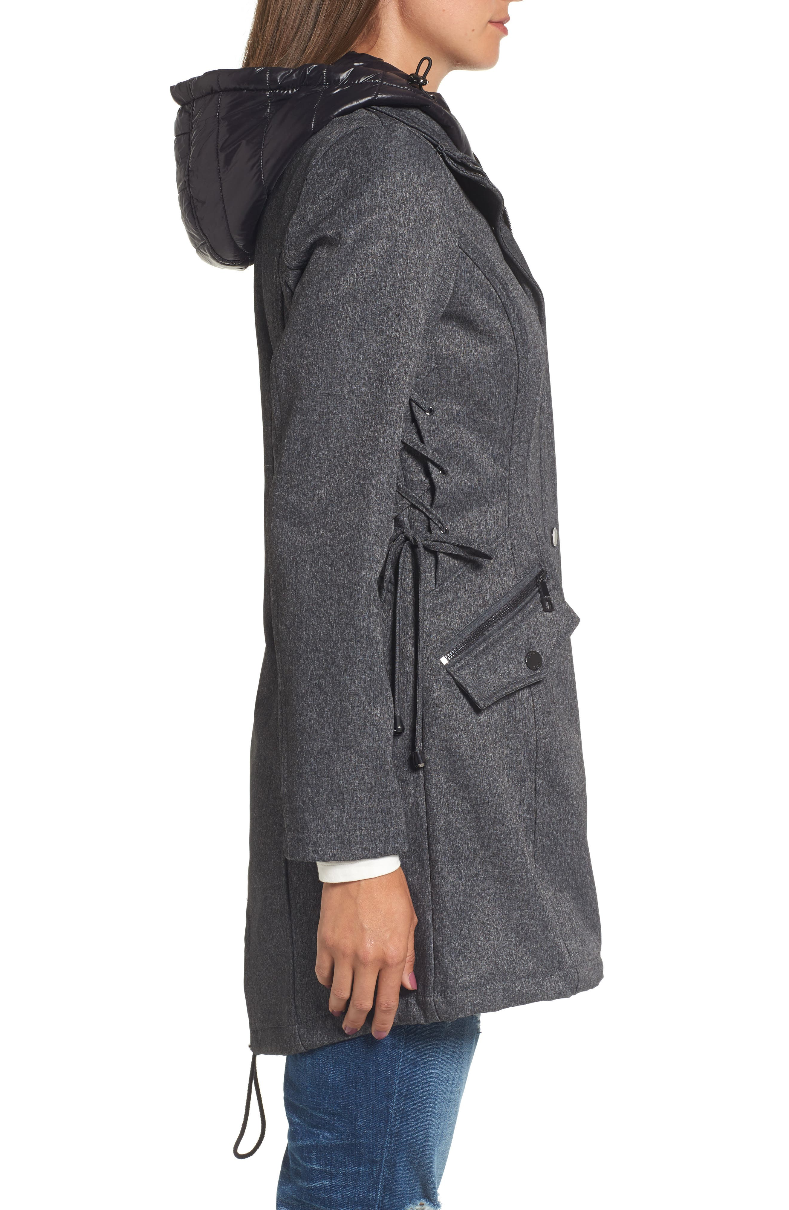 Anorak with Detachable Hooded Vest,                             Alternate thumbnail 3, color,                             Grey Melange