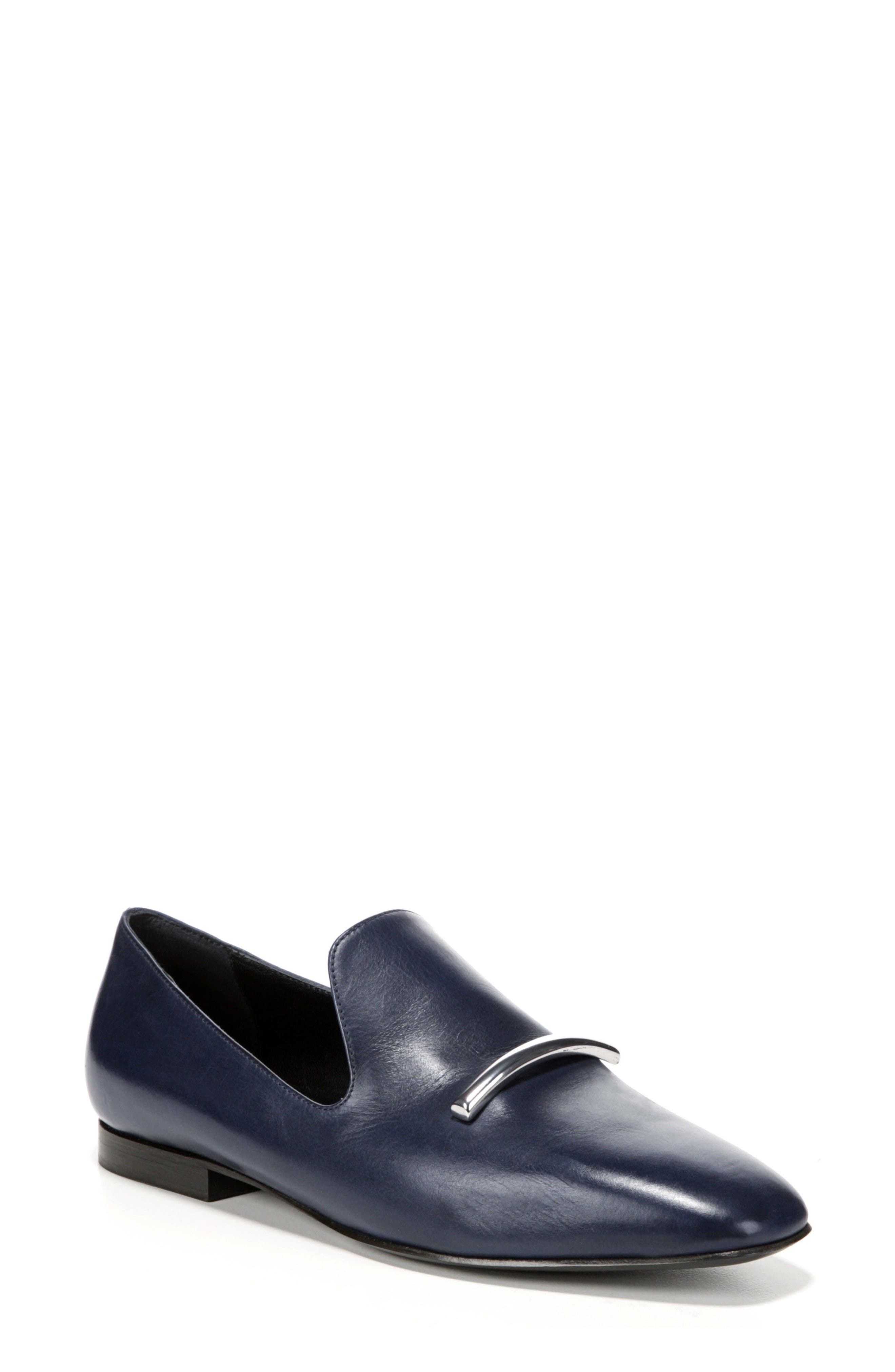 Tallis Flat Loafer,                             Main thumbnail 1, color,                             Midnight Leather