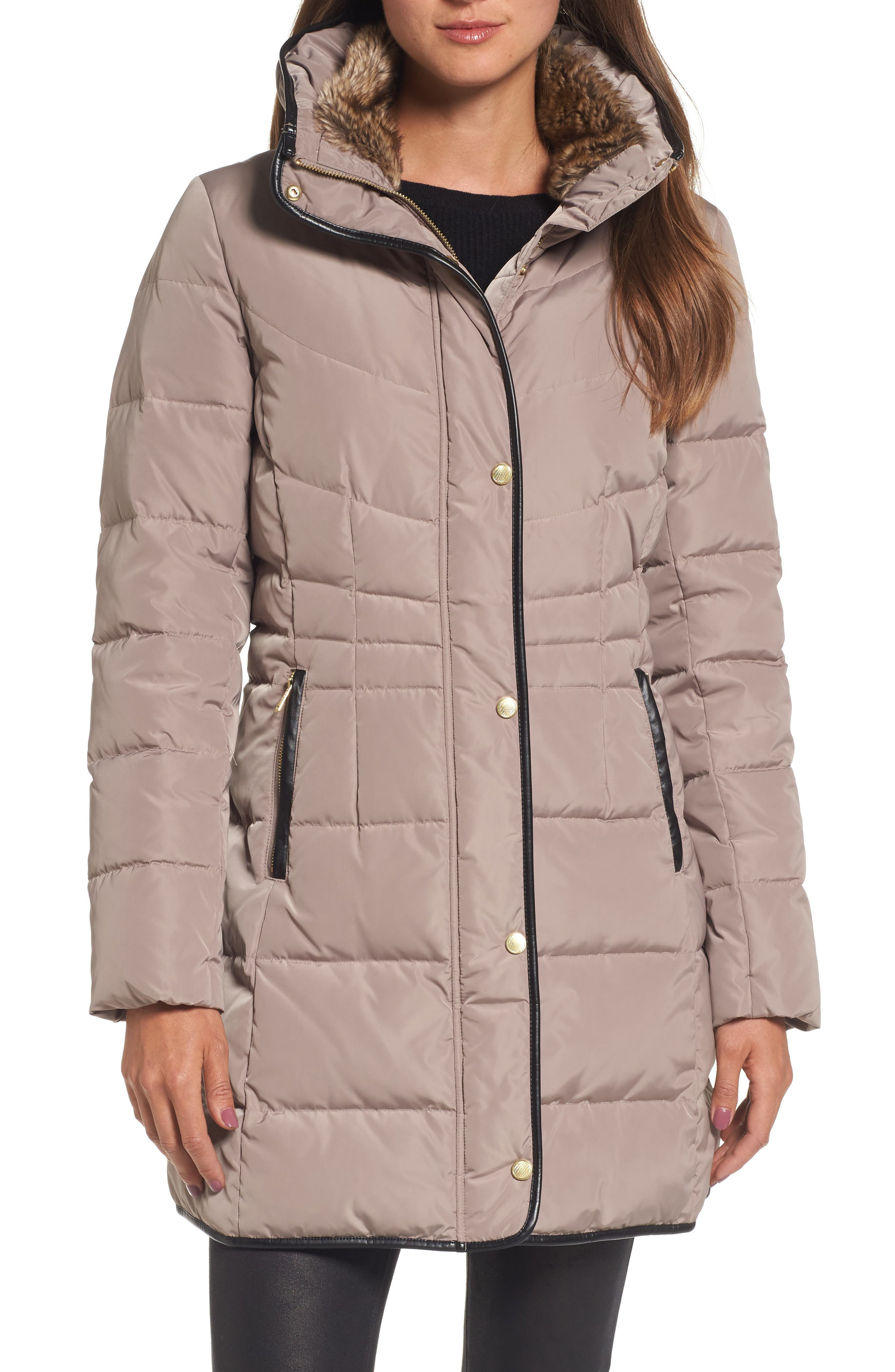 Cole Haan Quilted Down & Feather Fill Jacket with Faux Fur Trim