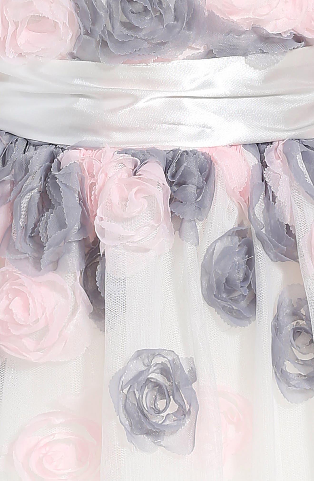 Flower Embellished Fit & Flare Mesh Dress,                             Alternate thumbnail 3, color,                             White