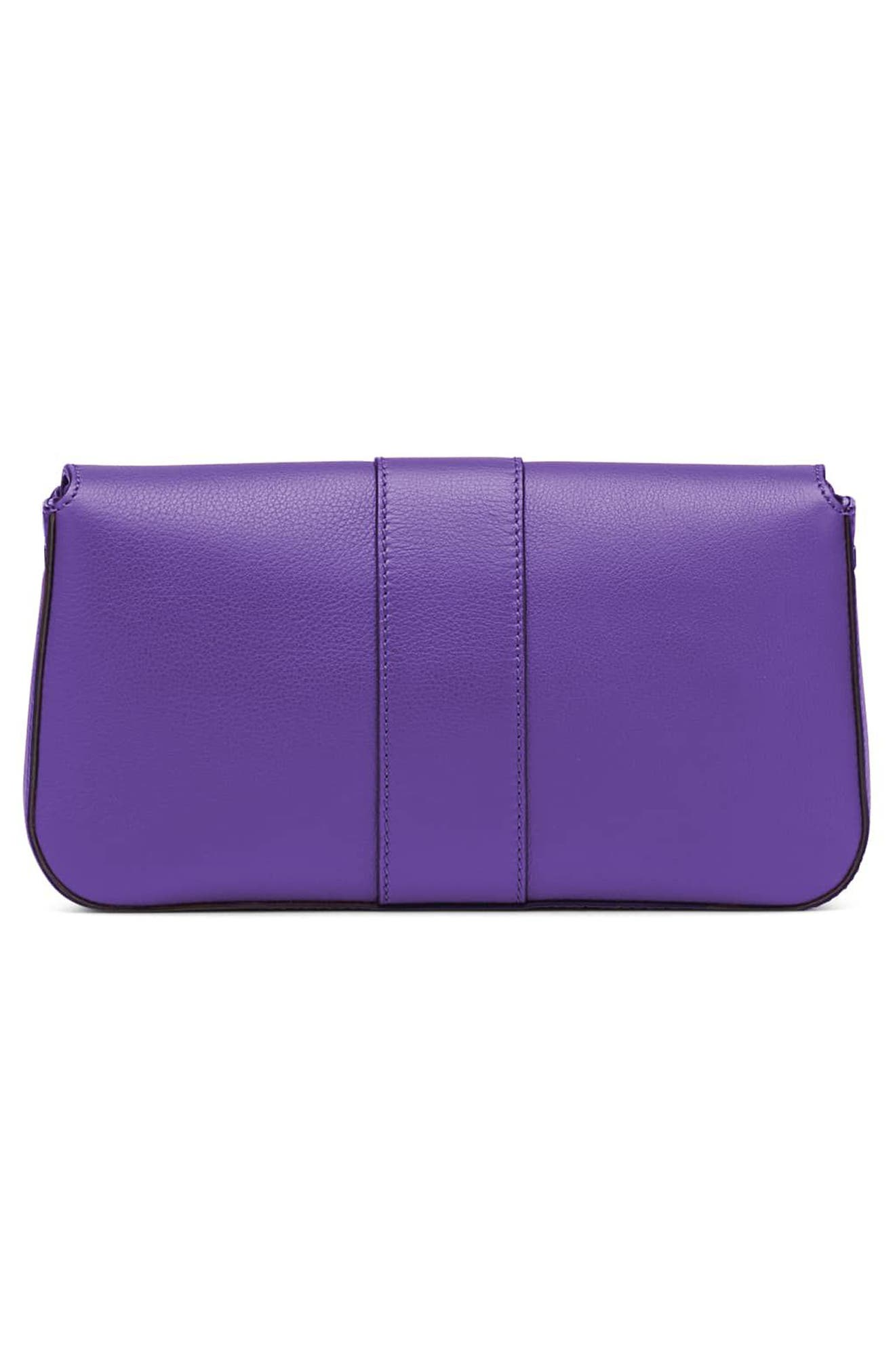 'Dolce' Calfskin Leather Baguette,                             Alternate thumbnail 3, color,                             Purple Rain/ Ruthenium