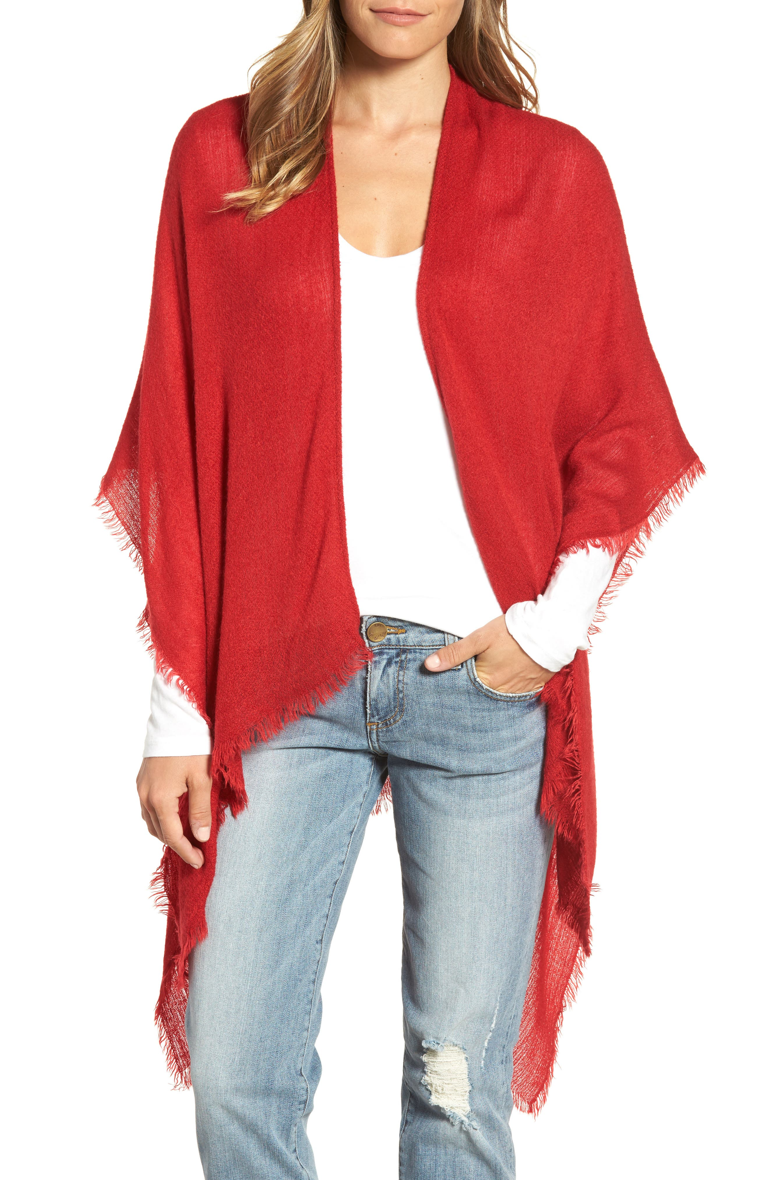 Alternate Image 1 Selected - Echo Fringe Trim Cape