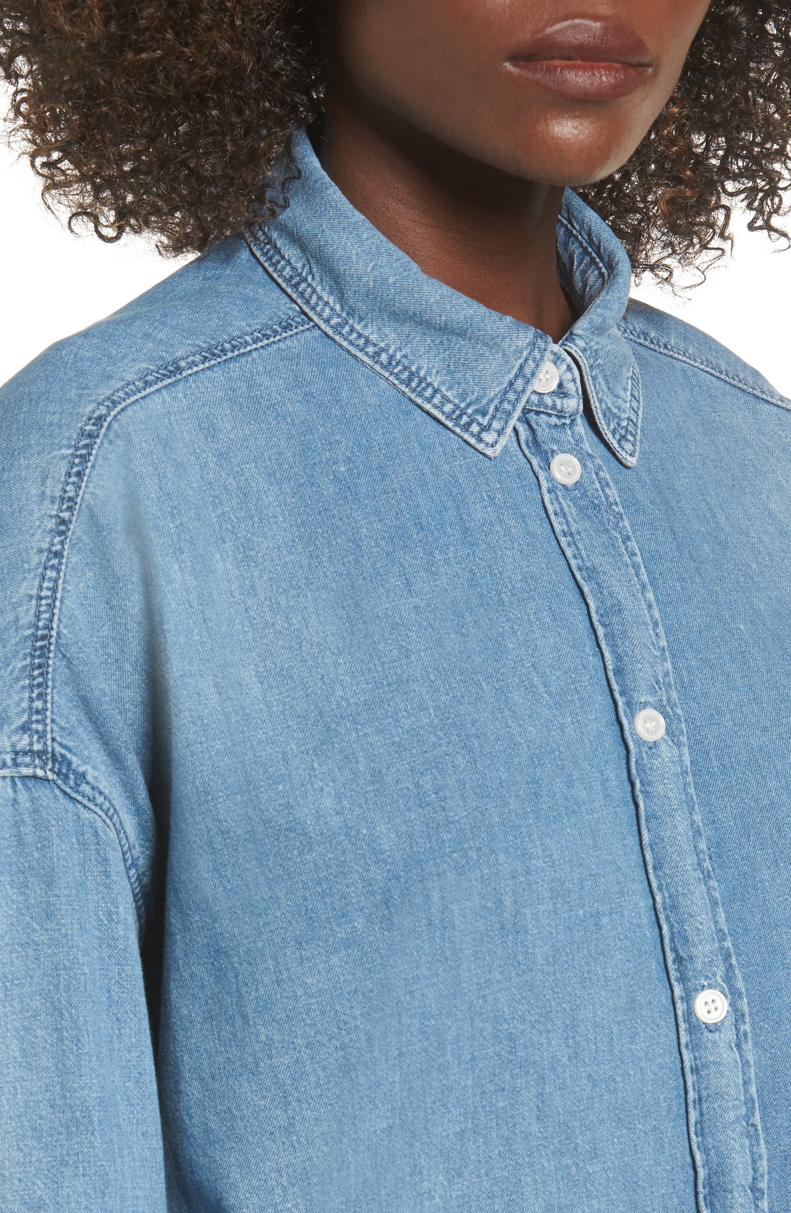 Alternate Image 4  - Topshop Elton Oversized Denim Shirt