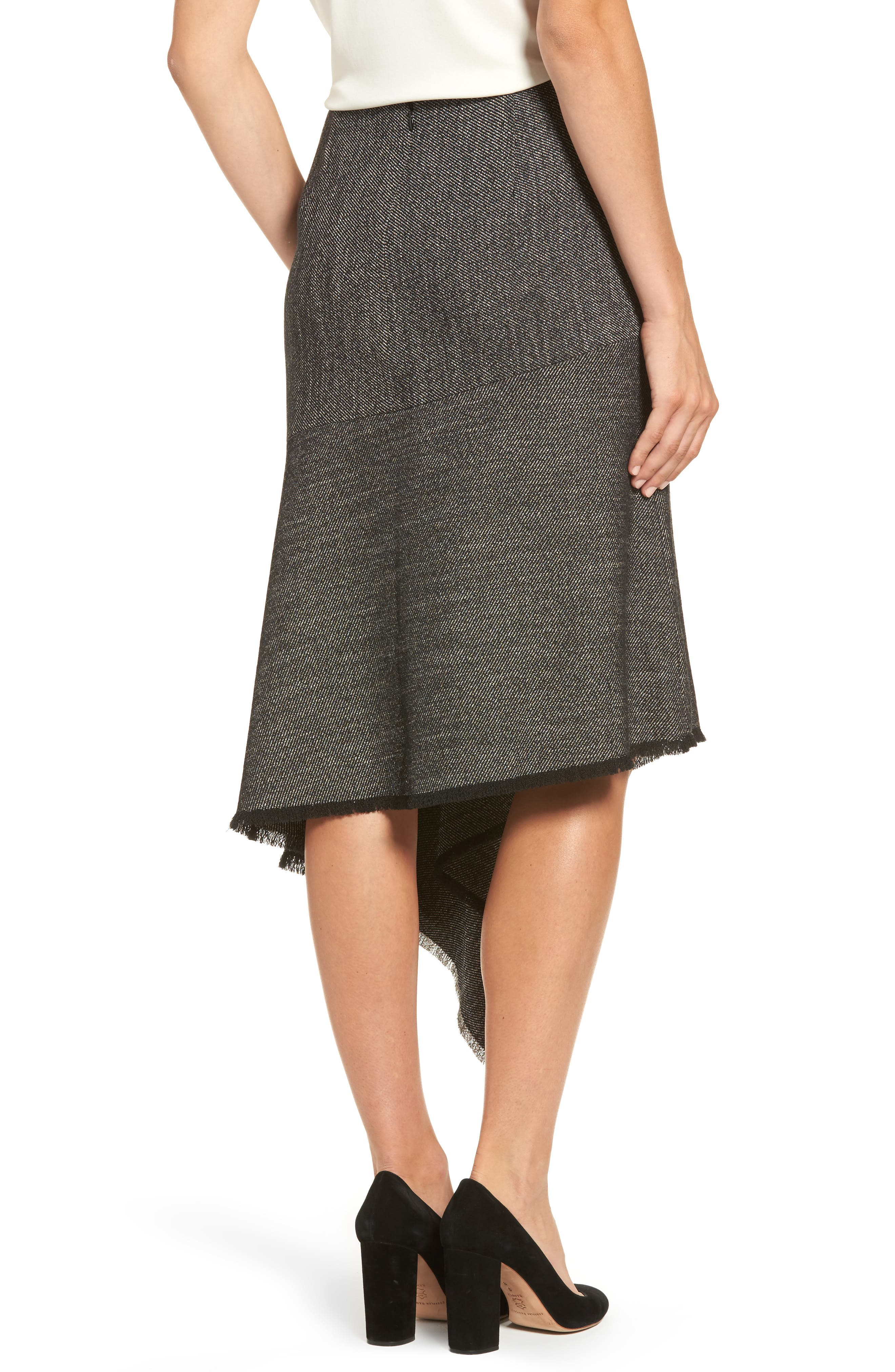 Asymmetrical Tweed Skirt,                             Alternate thumbnail 2, color,                             Black/ White