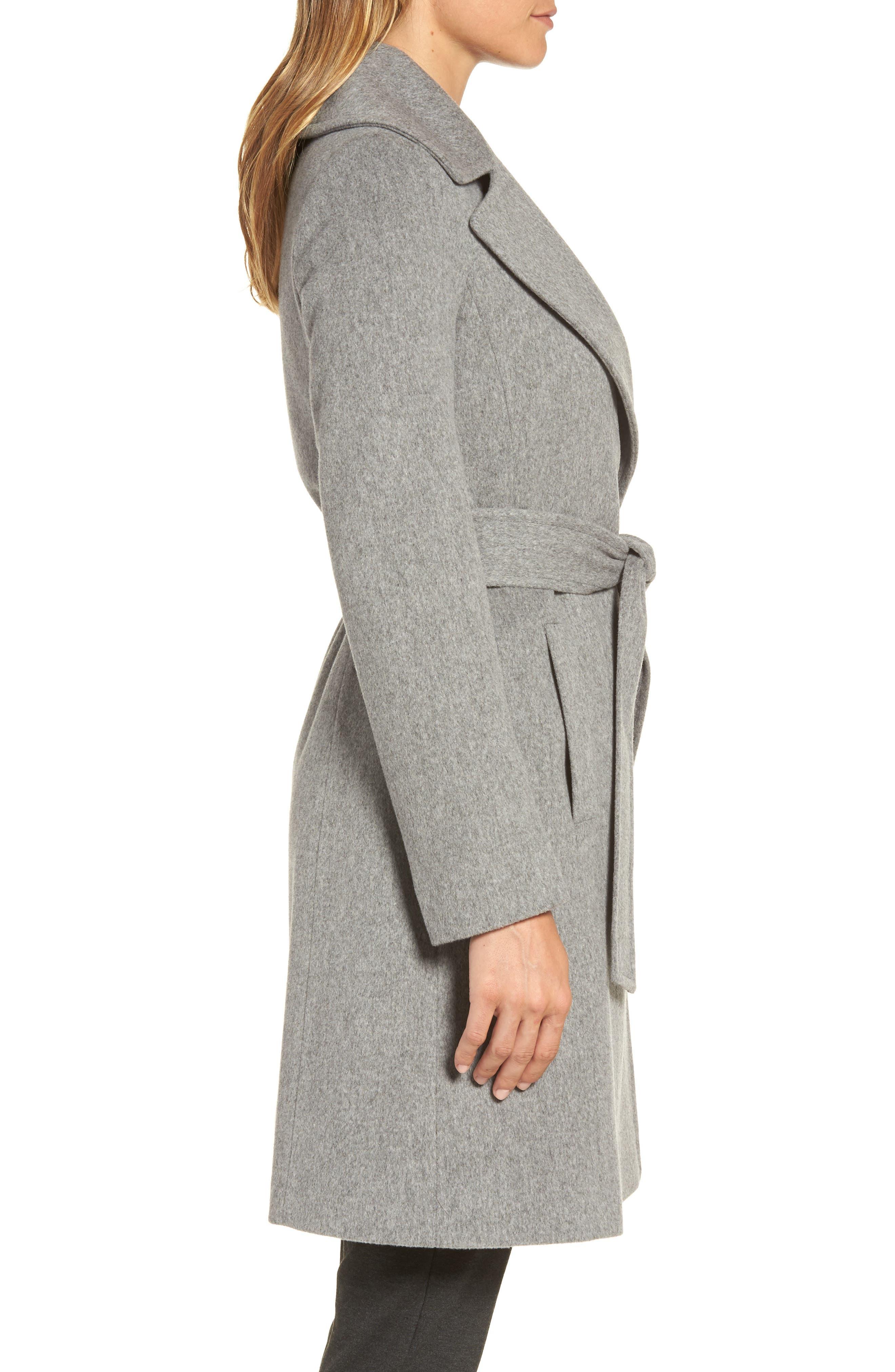 Alternate Image 3  - Fleurette Wool Wrap Coat (Regular & Petite)