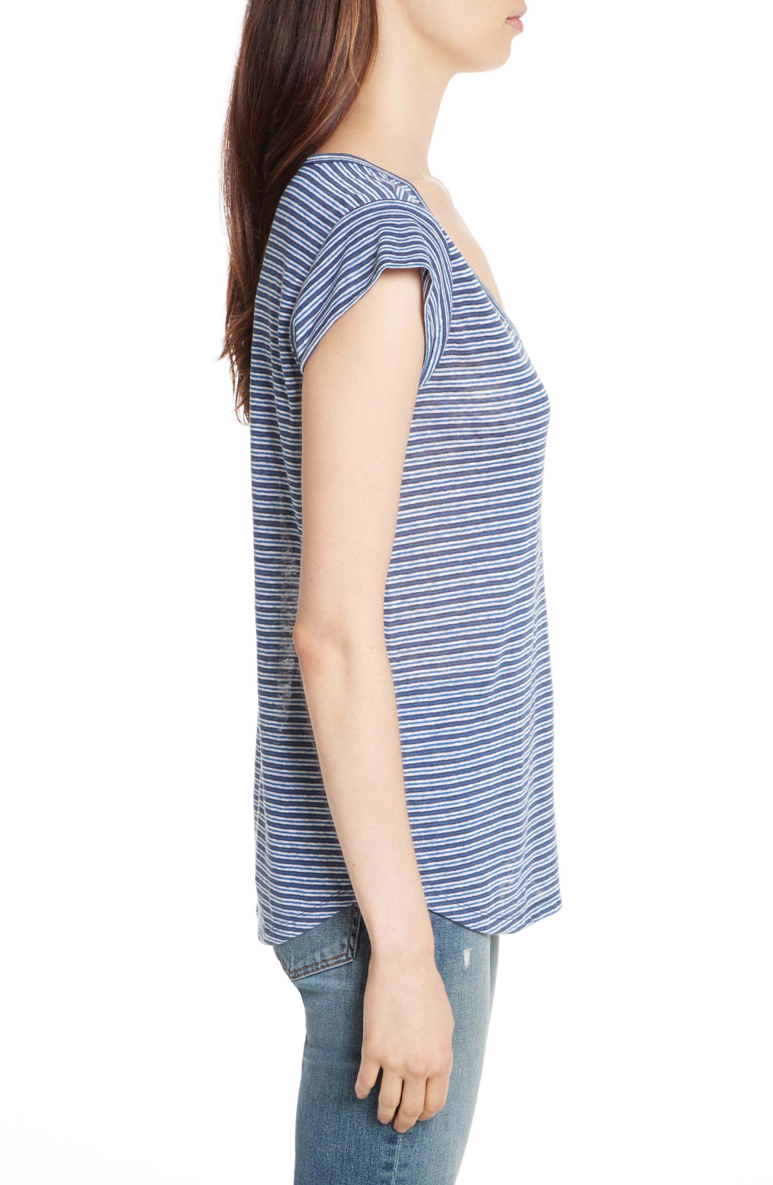 Neyo Stripe Linen Tee,                             Alternate thumbnail 3, color,                             Moroccan Blue