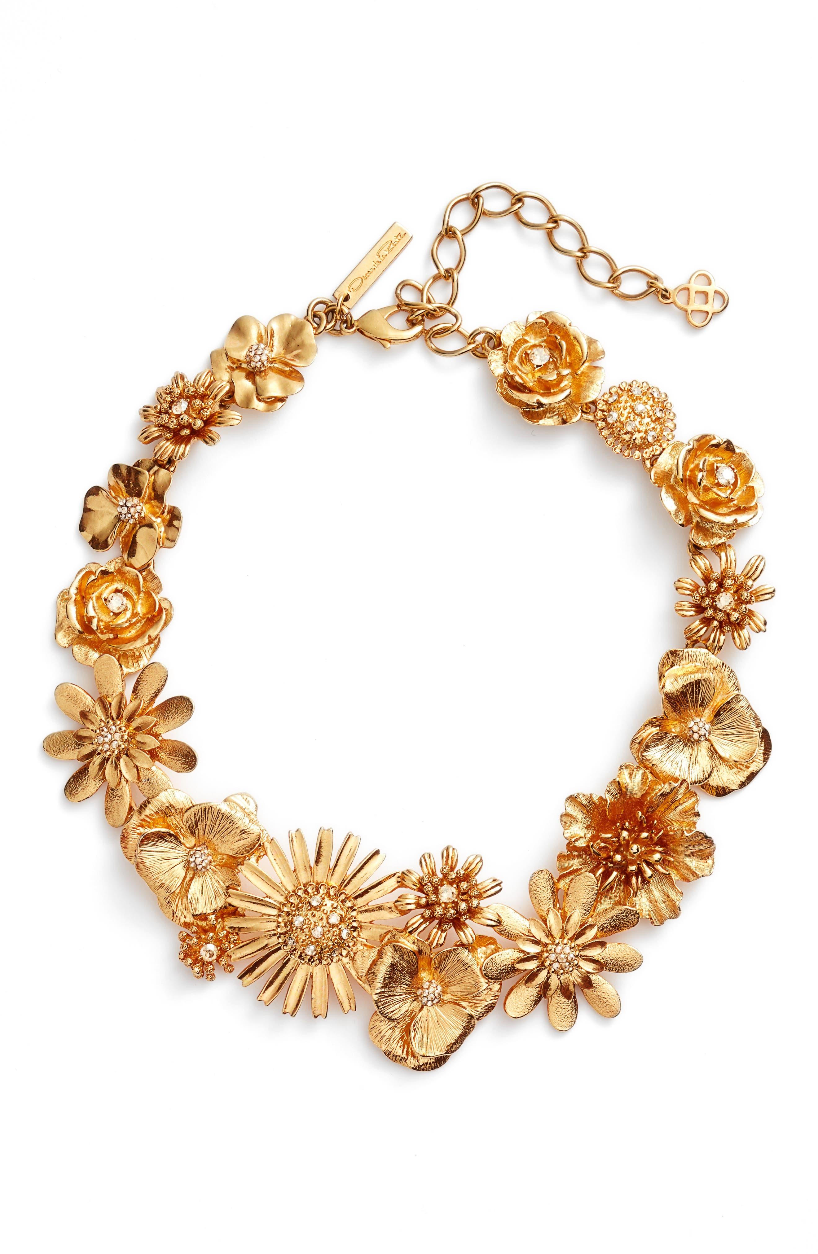 Main Image - Oscar de la Renta Gilded Floral Collar Necklace