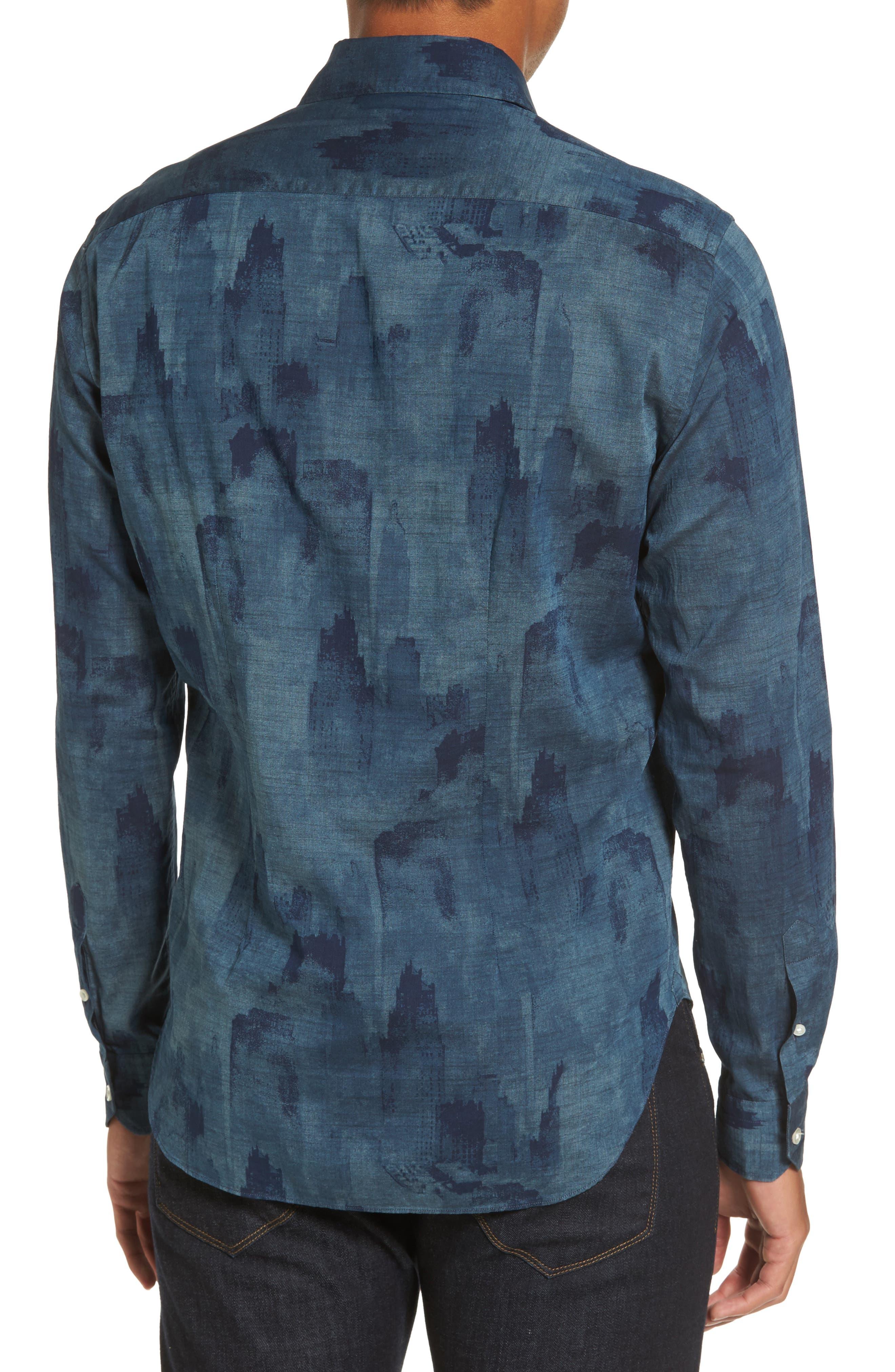 Alternate Image 2  - Culturata Trim Fit Indigo Print Sport Shirt