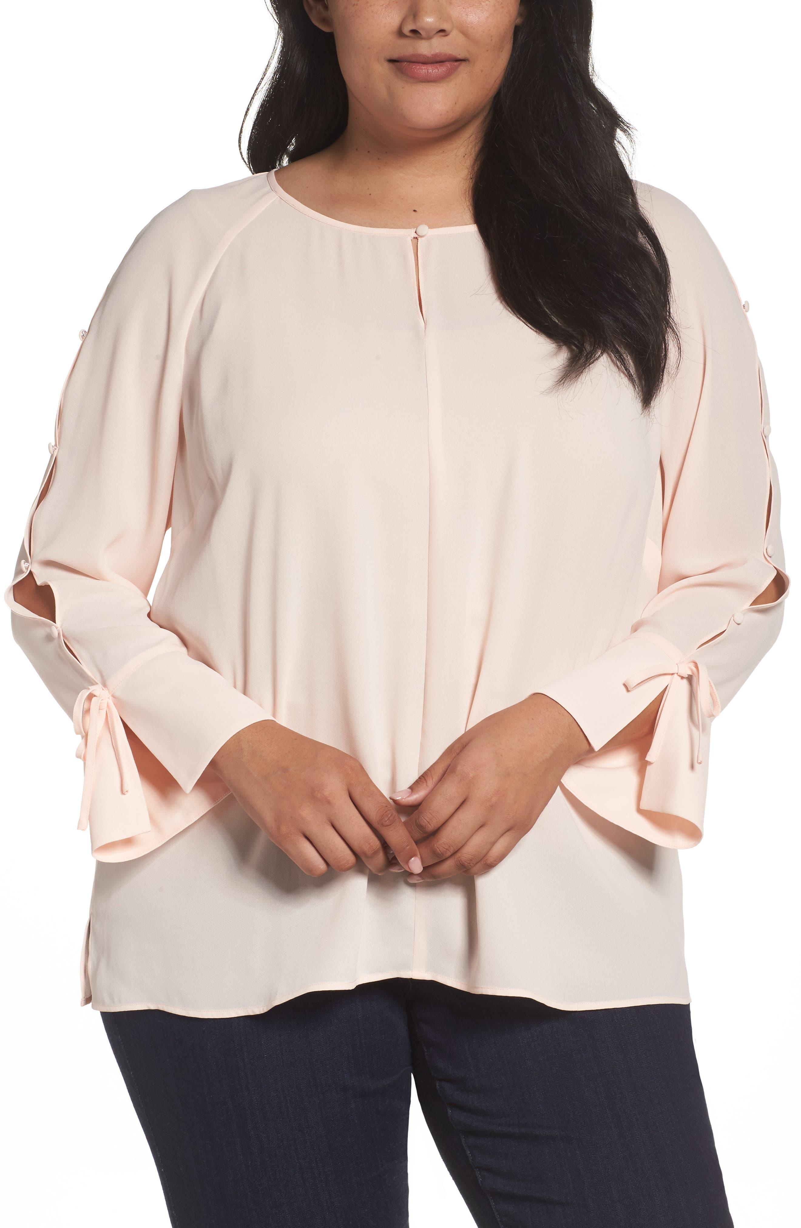 Sejour Button Sleeve Blouse (Plus Size)
