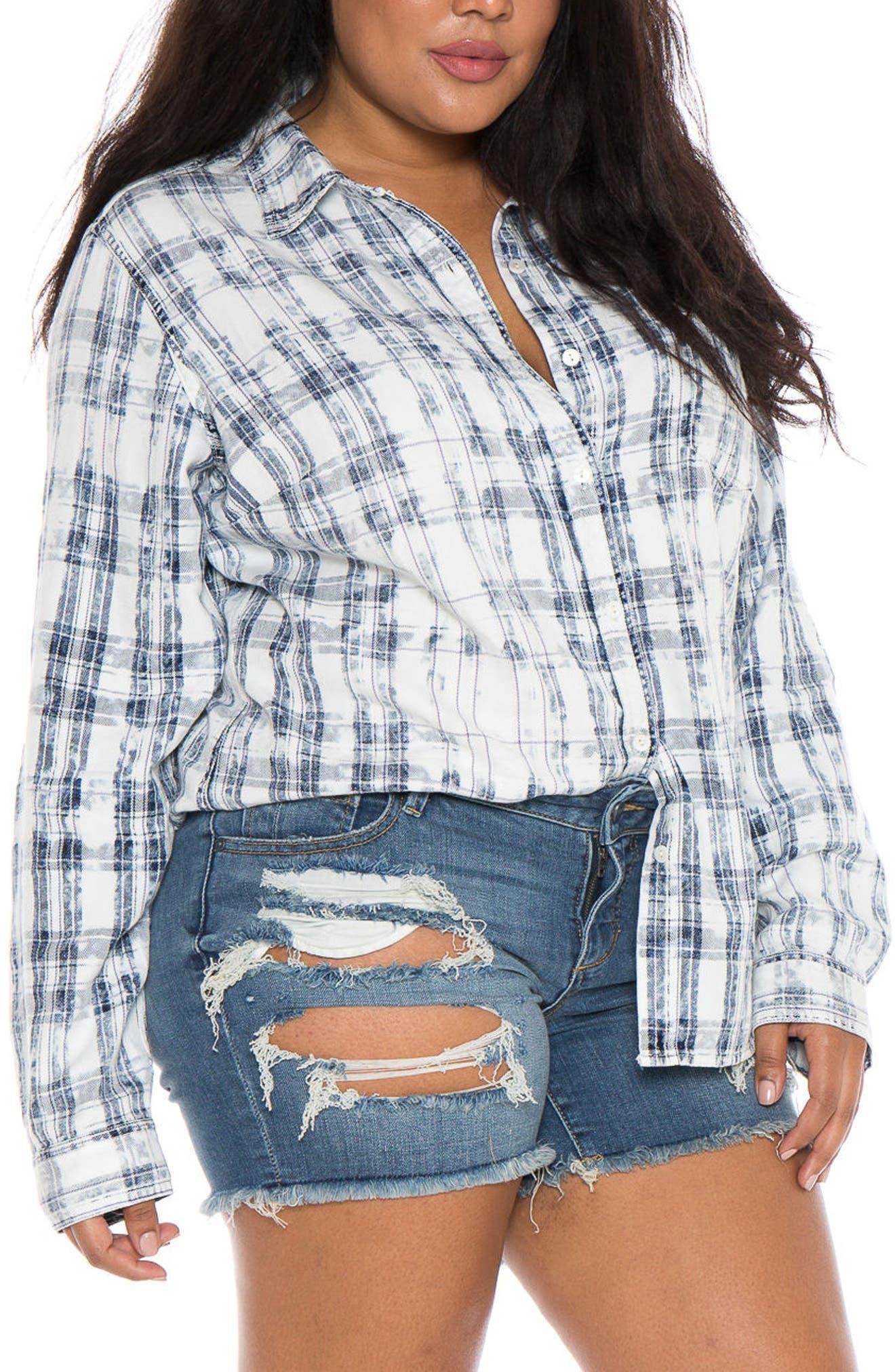 Plaid Western Shirt,                         Main,                         color, White/ Blue