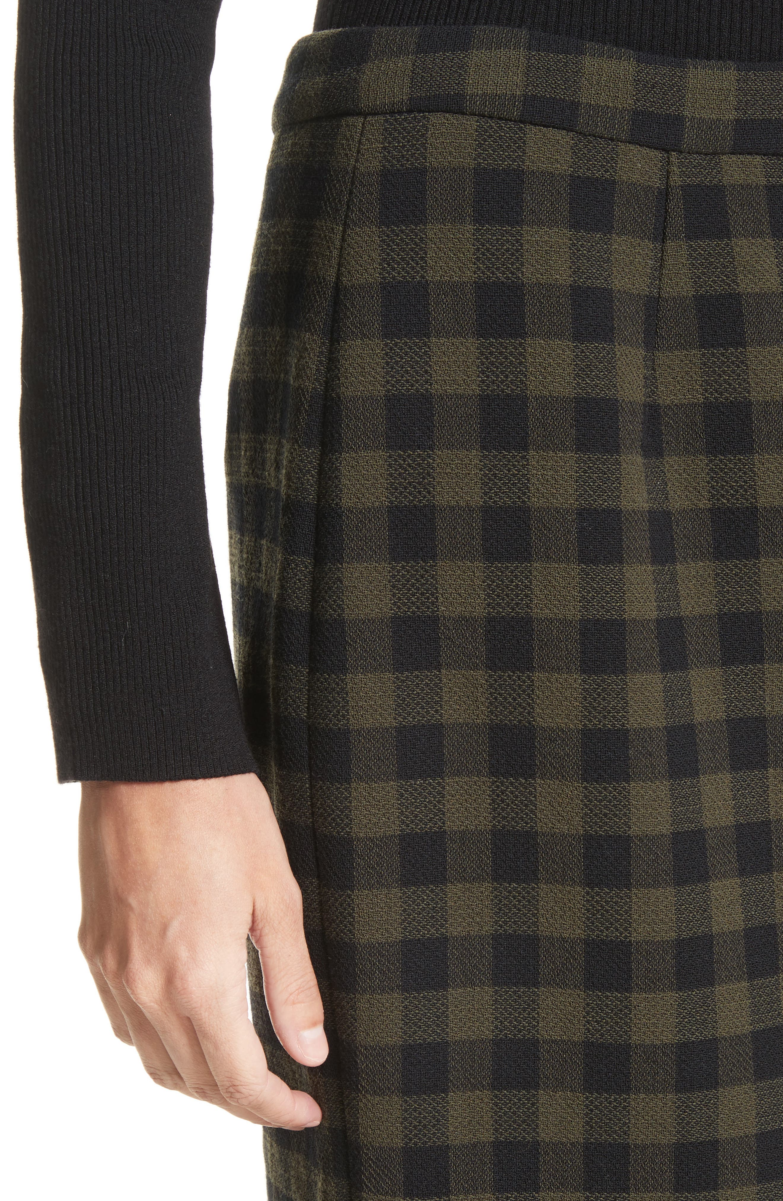 Thea Plaid Wool Pencil Skirt,                             Alternate thumbnail 5, color,                             Army/ Black
