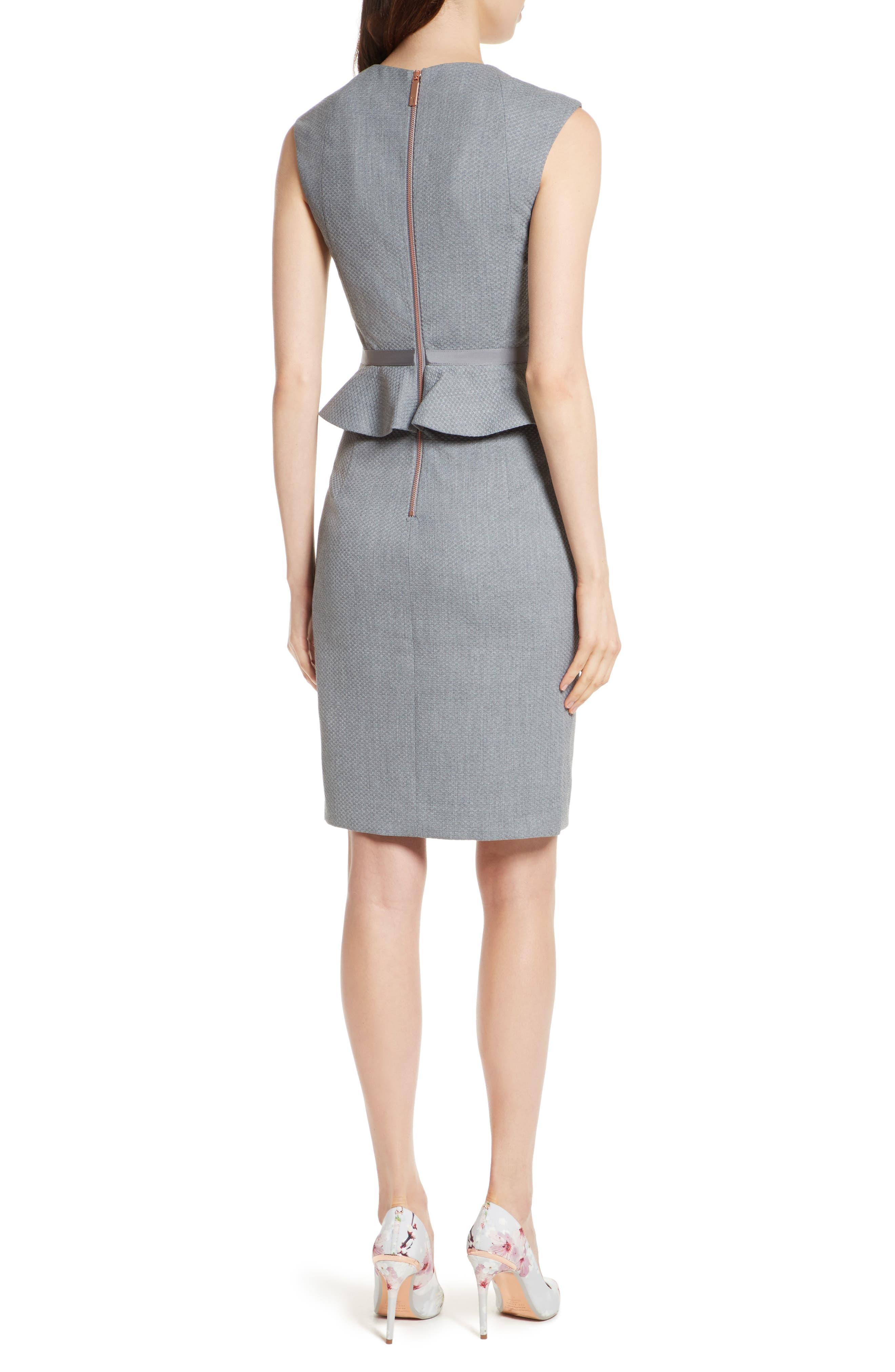 Nadaed Bow Detail Textured Peplum Dress,                             Alternate thumbnail 2, color,                             Mid Grey