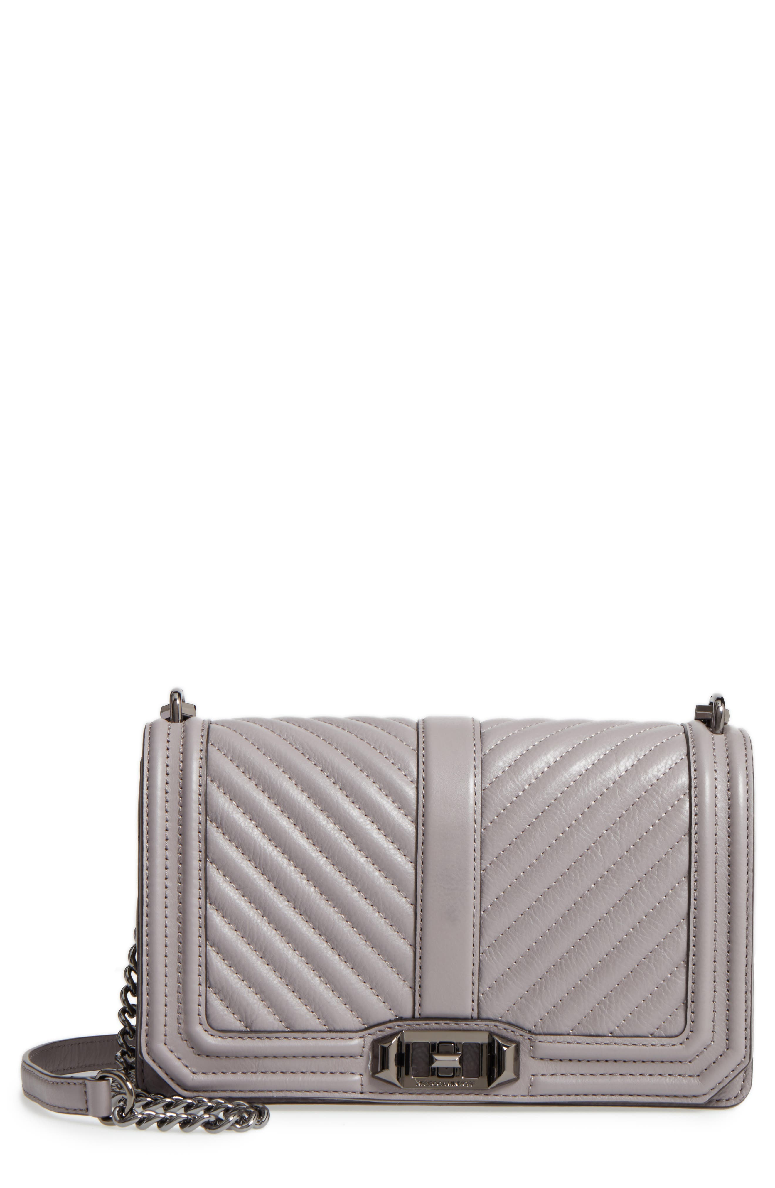 'CHEVRON QUILTED LOVE' CROSSBODY BAG - GREY