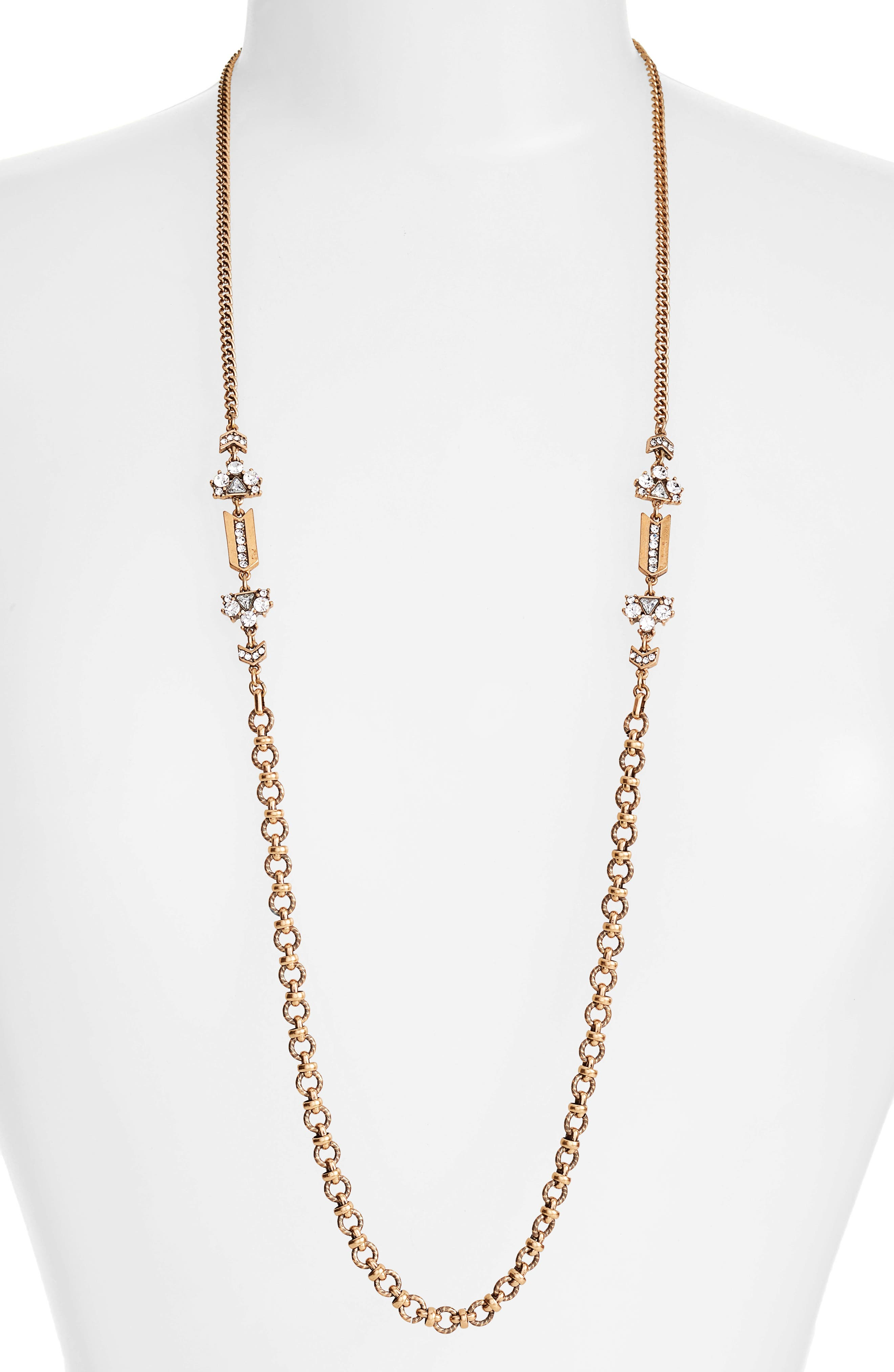 Crystal Strand Necklace,                         Main,                         color, Clear- Gold