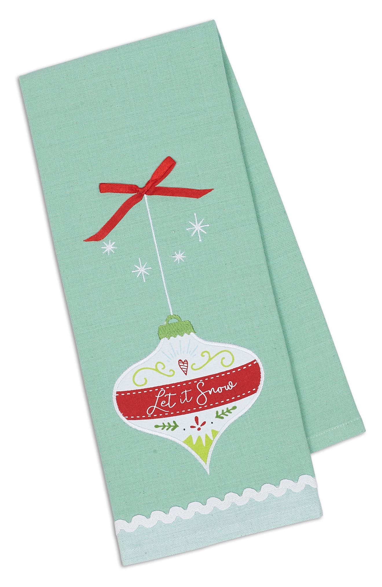 Let It Snow Embroidered Dish Towel,                         Main,                         color, Mint