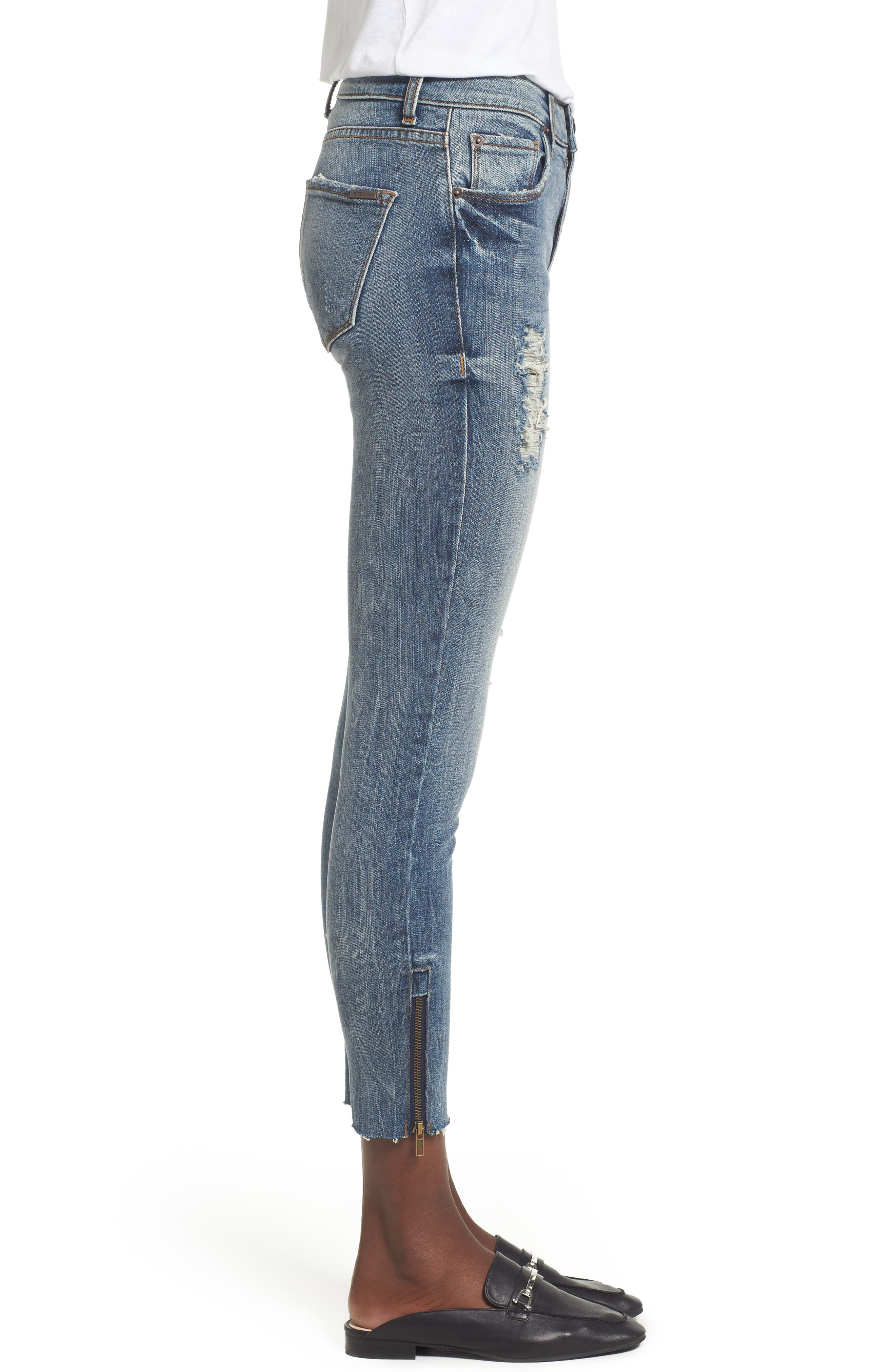 Taylor Zip Detail Skinny Ankle Jeans,                             Alternate thumbnail 3, color,                             Rockland