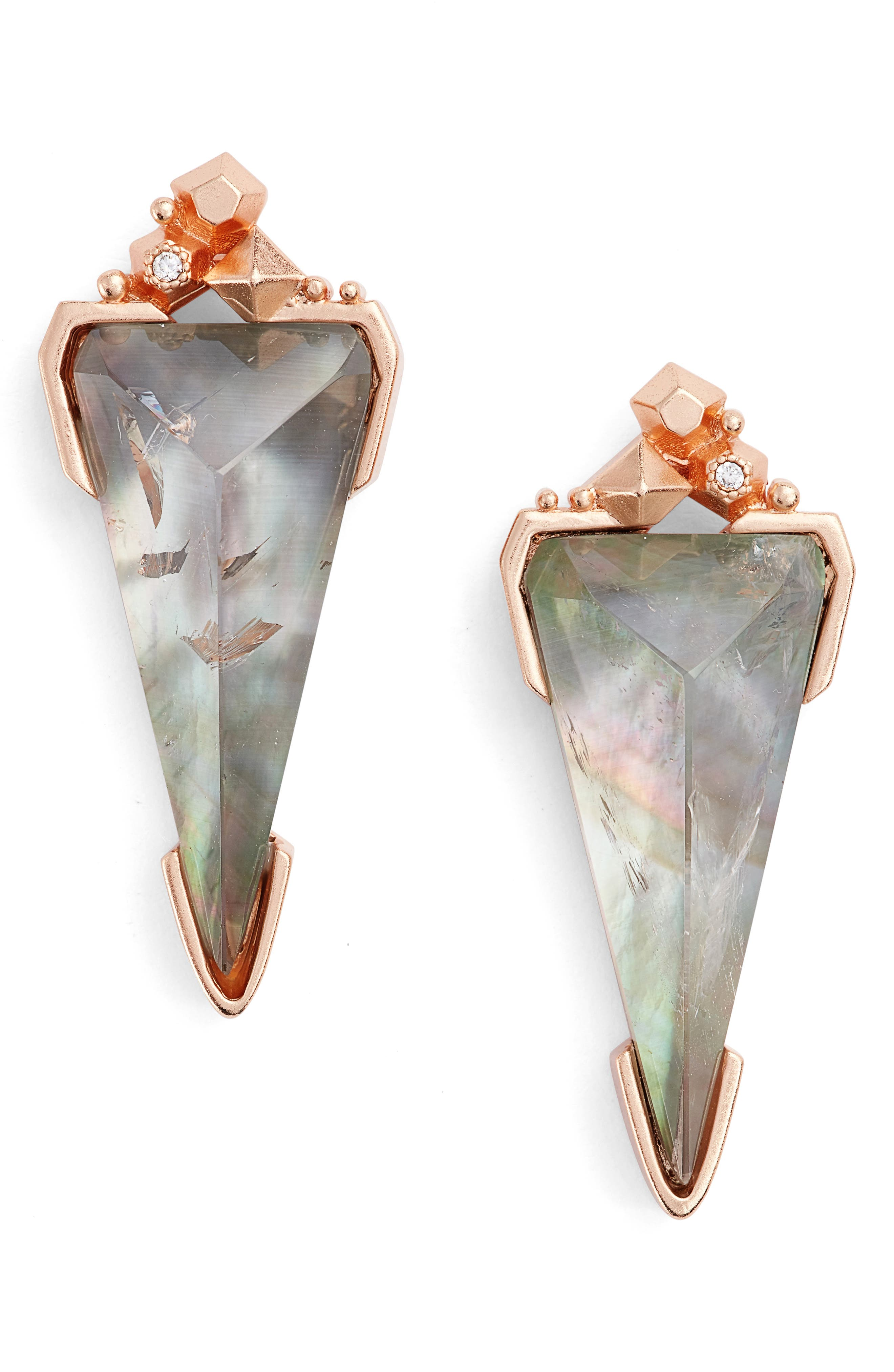 Libby Drop Earrings,                         Main,                         color, Crystal Gray/ Rose Gold
