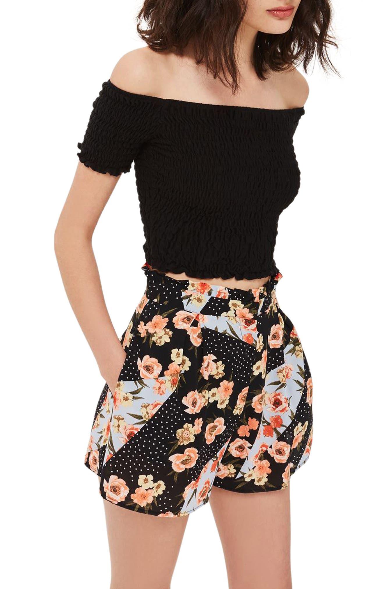 Topshop Pansy & Spot Print Ruffle Waist Shorts