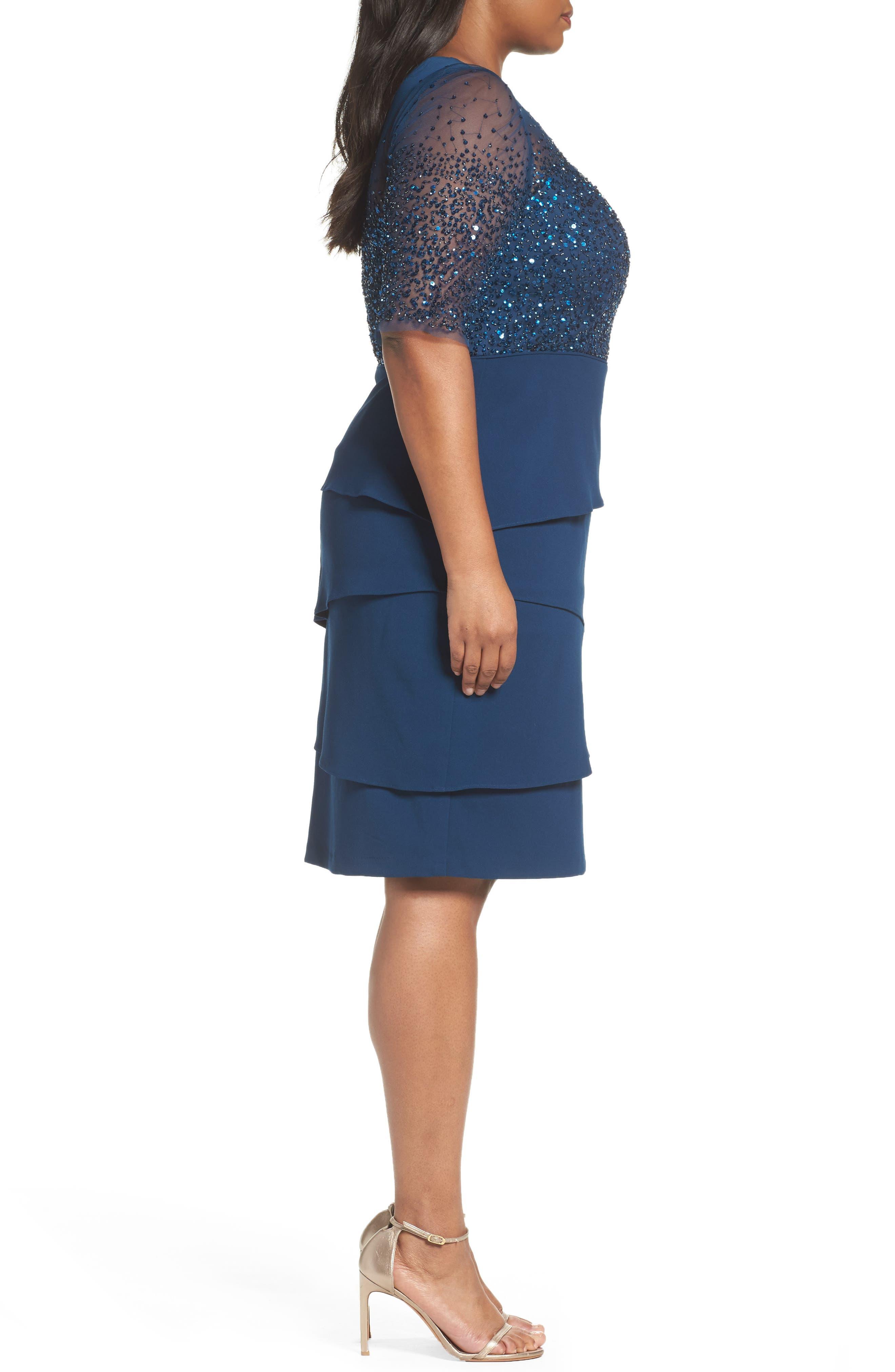 Beaded Bodice Sheath Dress,                             Alternate thumbnail 3, color,                             Deep Blue