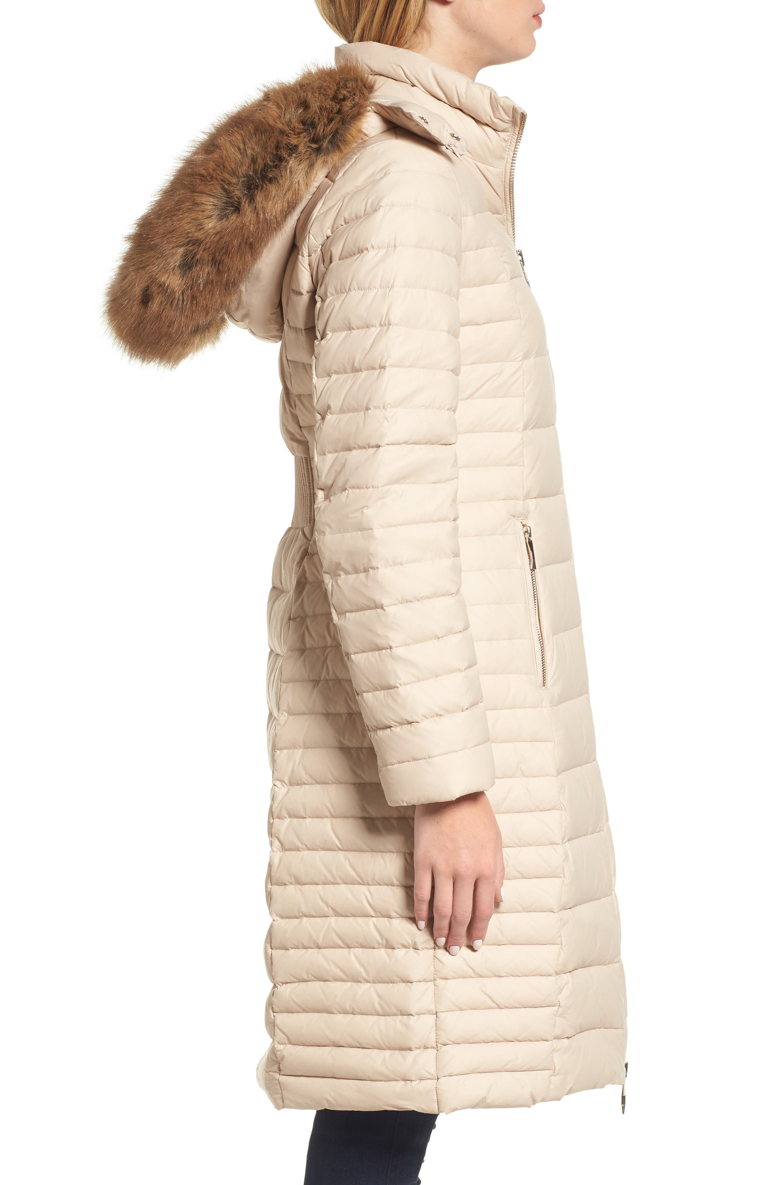 down puffer coat with faux fur trim,                             Alternate thumbnail 3, color,                             Deco Beige