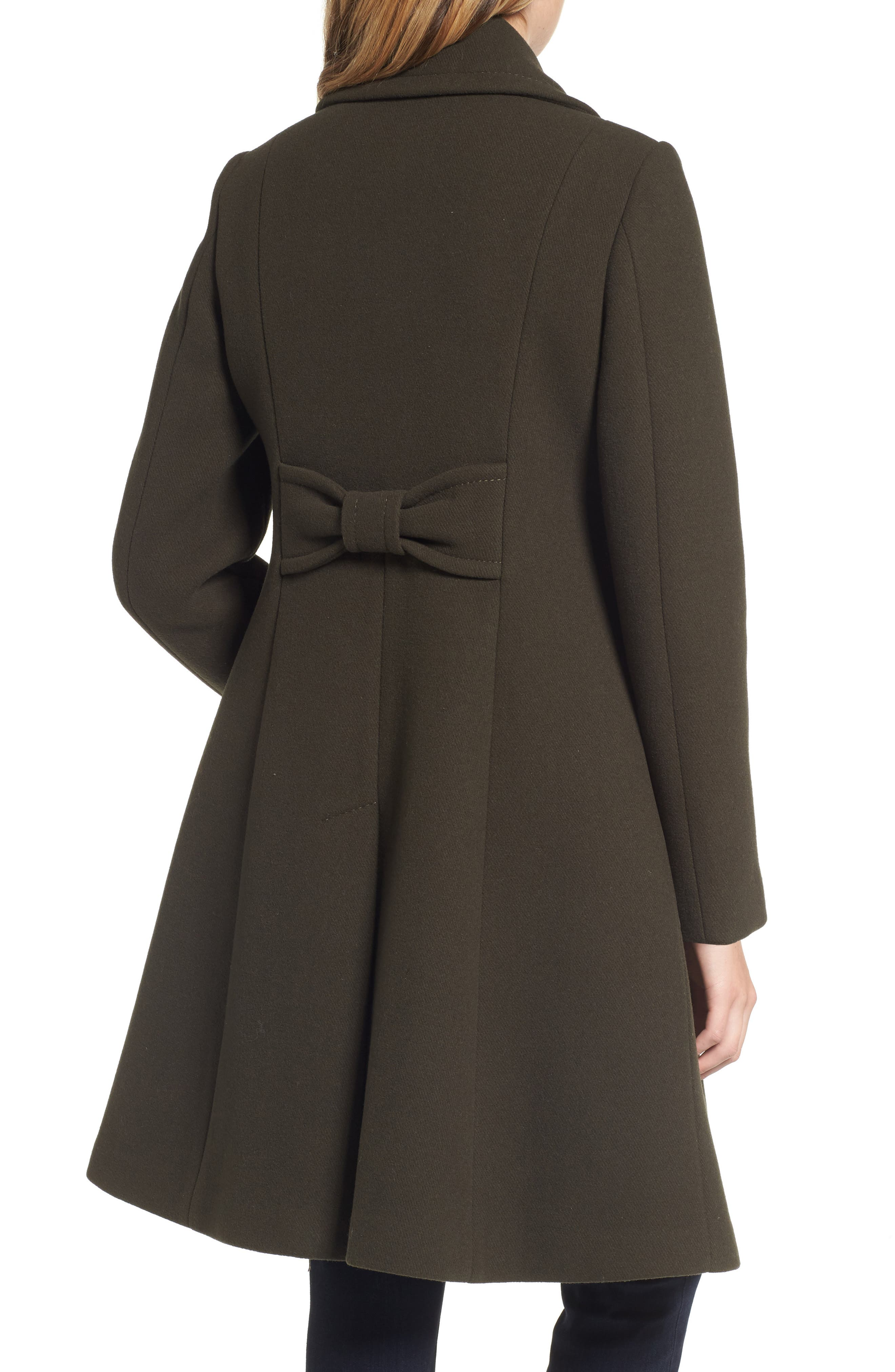 twill fit & flare coat,                             Alternate thumbnail 2, color,                             Olive Grove