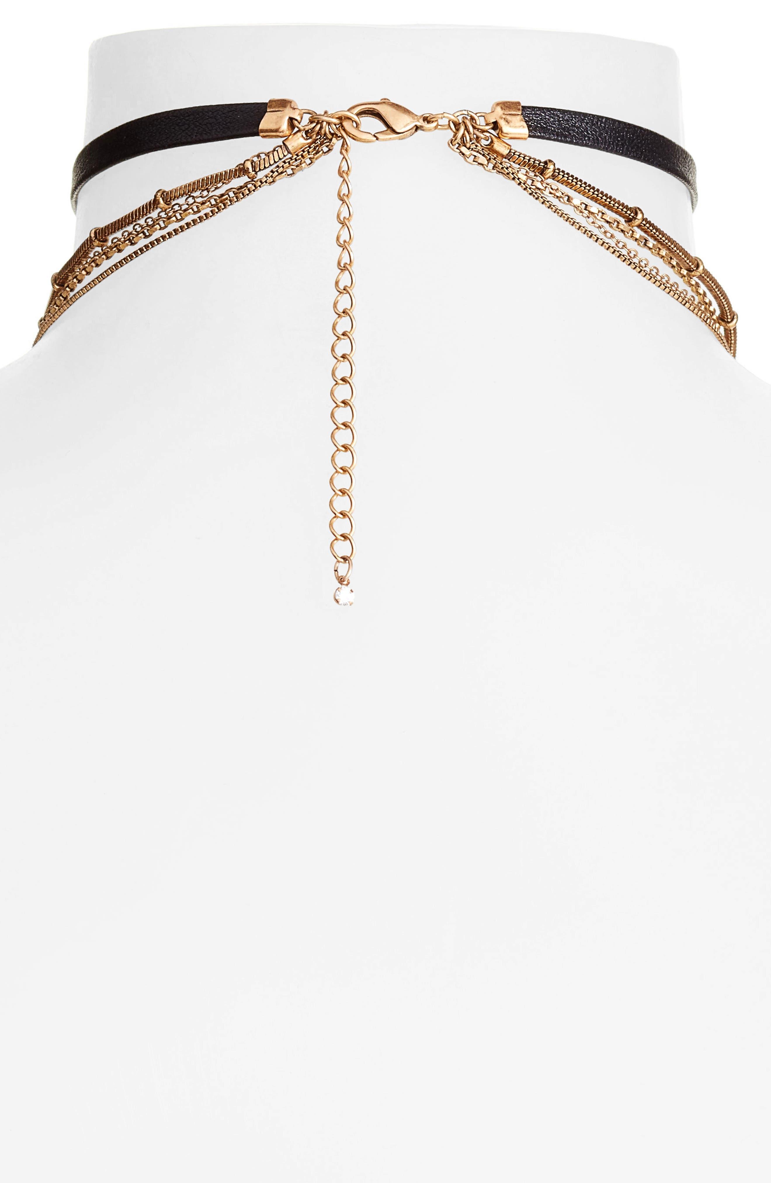Multstrand Choker Necklace,                             Alternate thumbnail 2, color,                             Clear- Gold- Black