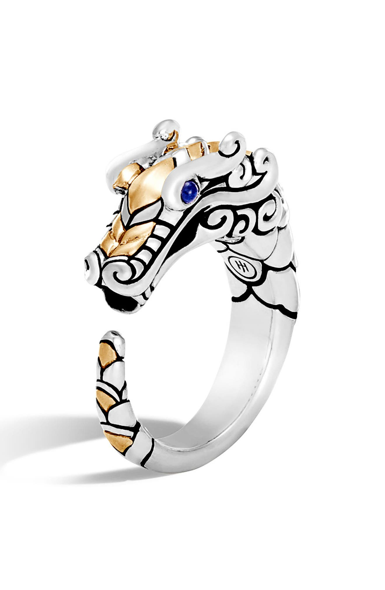 Legends Naga Ring,                             Main thumbnail 1, color,                             Silver/ Black/ Blue Sapphire