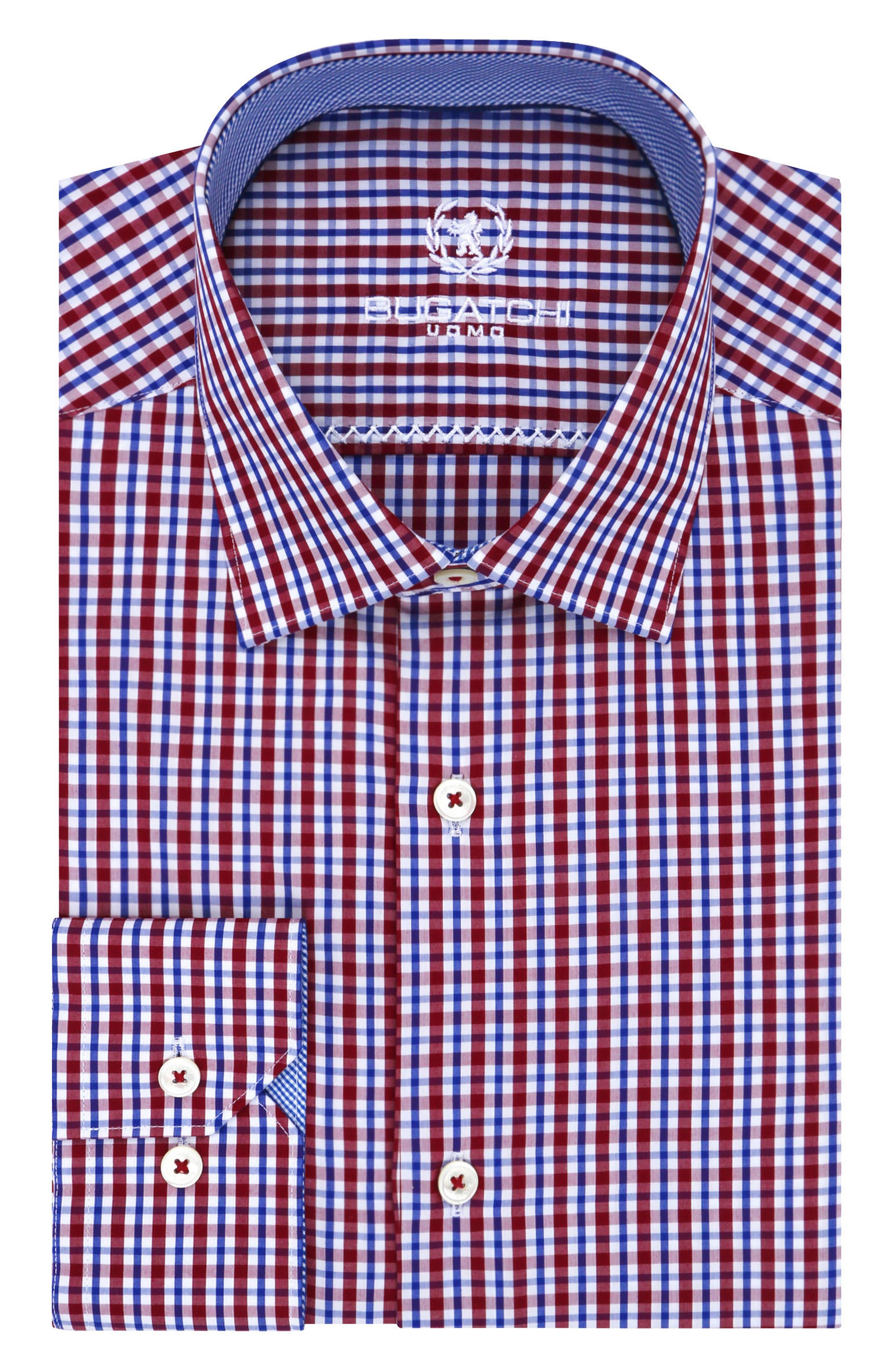 Trim Fit Plaid Dress Shirt,                         Main,                         color, Wine
