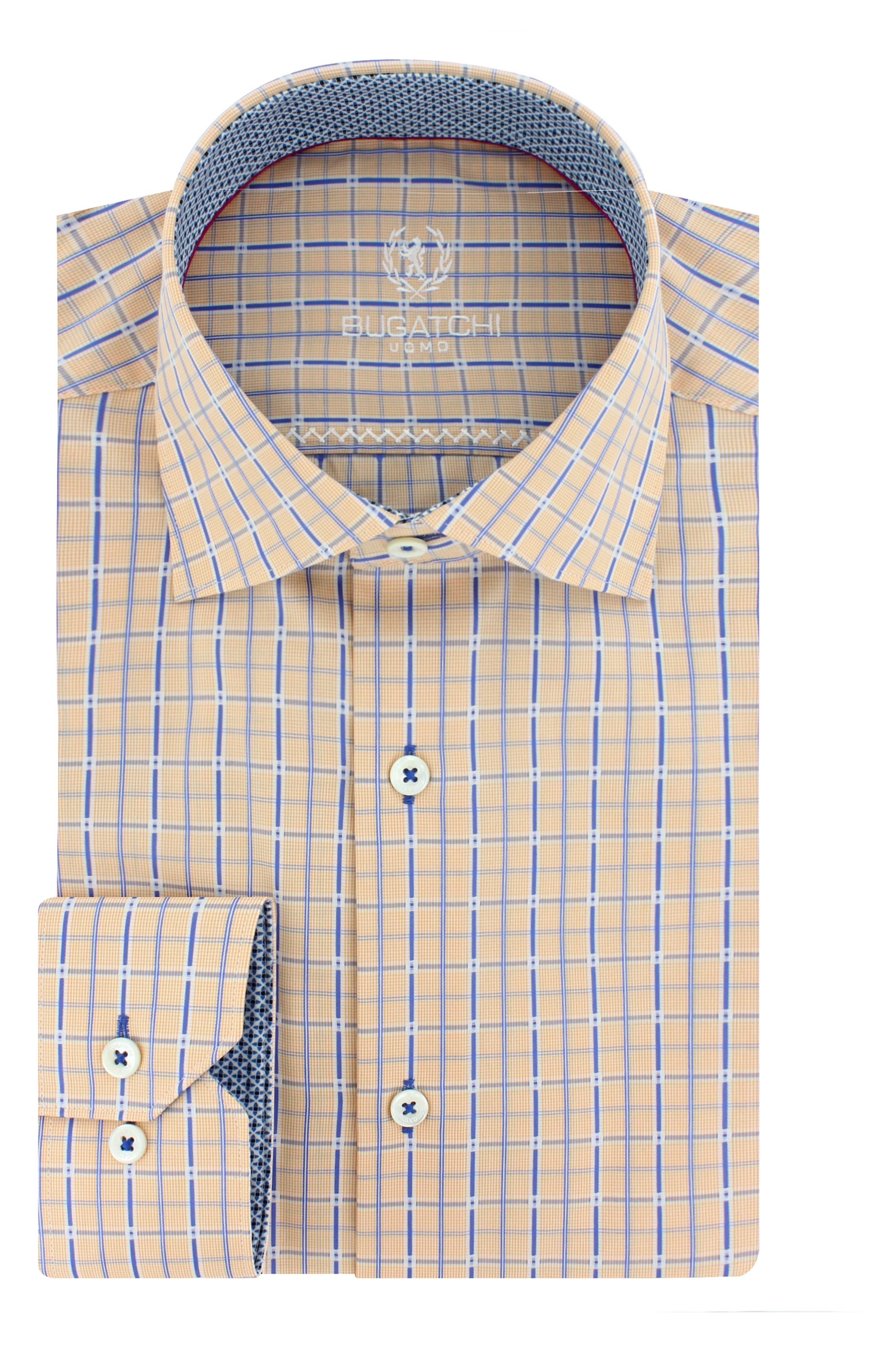 Bugatchi Trim Fit Grid Check Dress Shirt