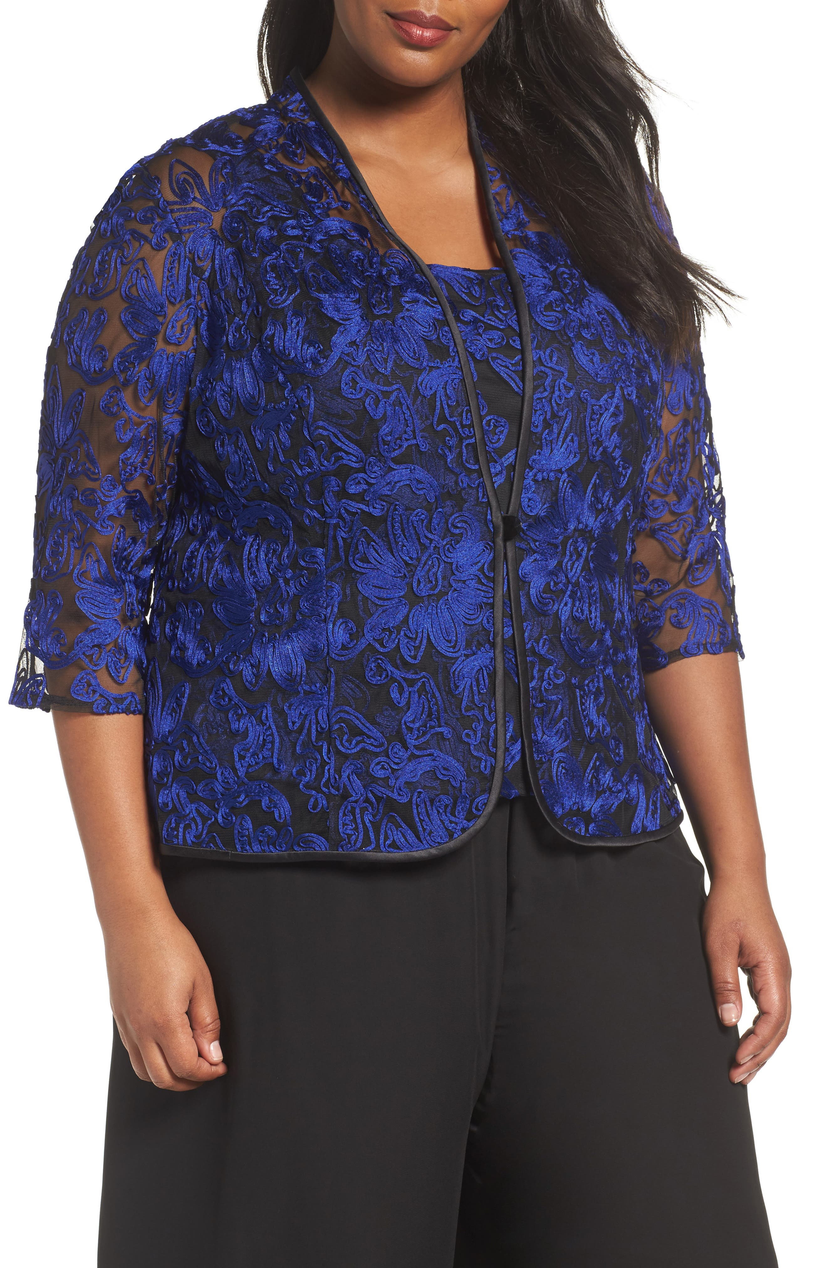 Alternate Image 1 Selected - Alex Evenings Embroidered Twinset (Plus Size)
