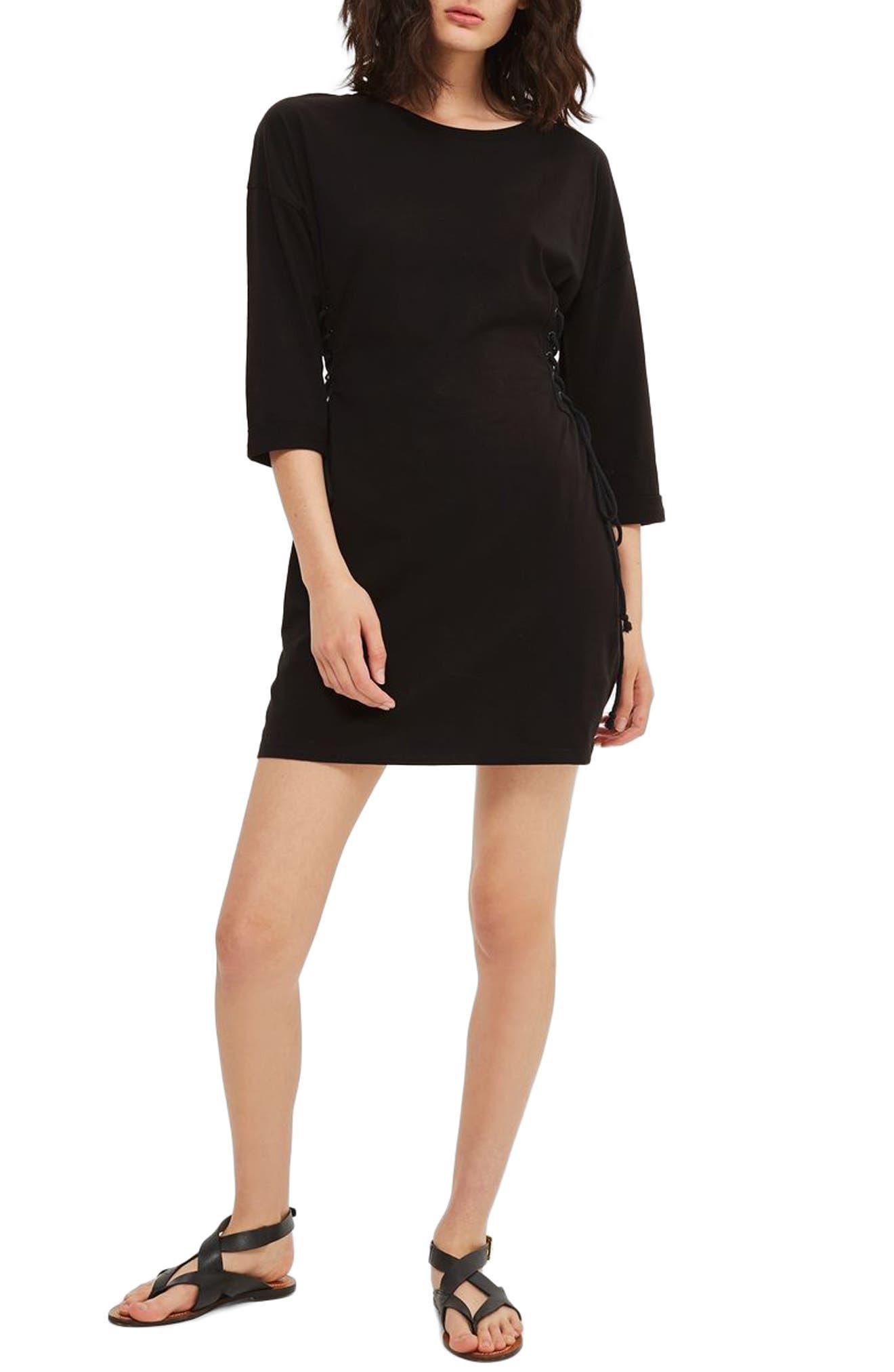 Lace-Up Side Tunic Dress,                             Main thumbnail 1, color,                             Black