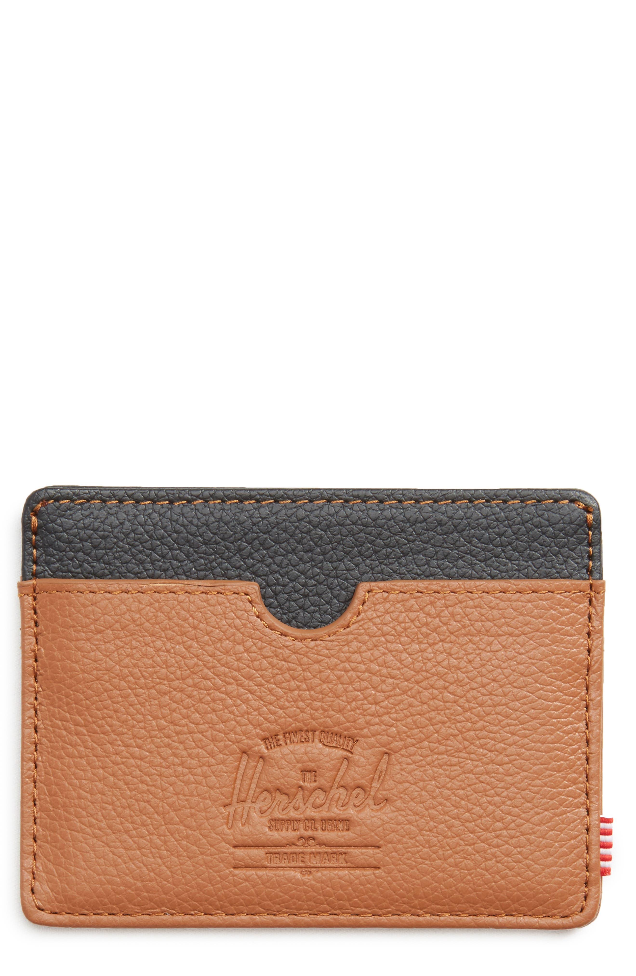 Charlie Pebble Leather Card Case,                         Main,                         color, Tan/ Black Pebble