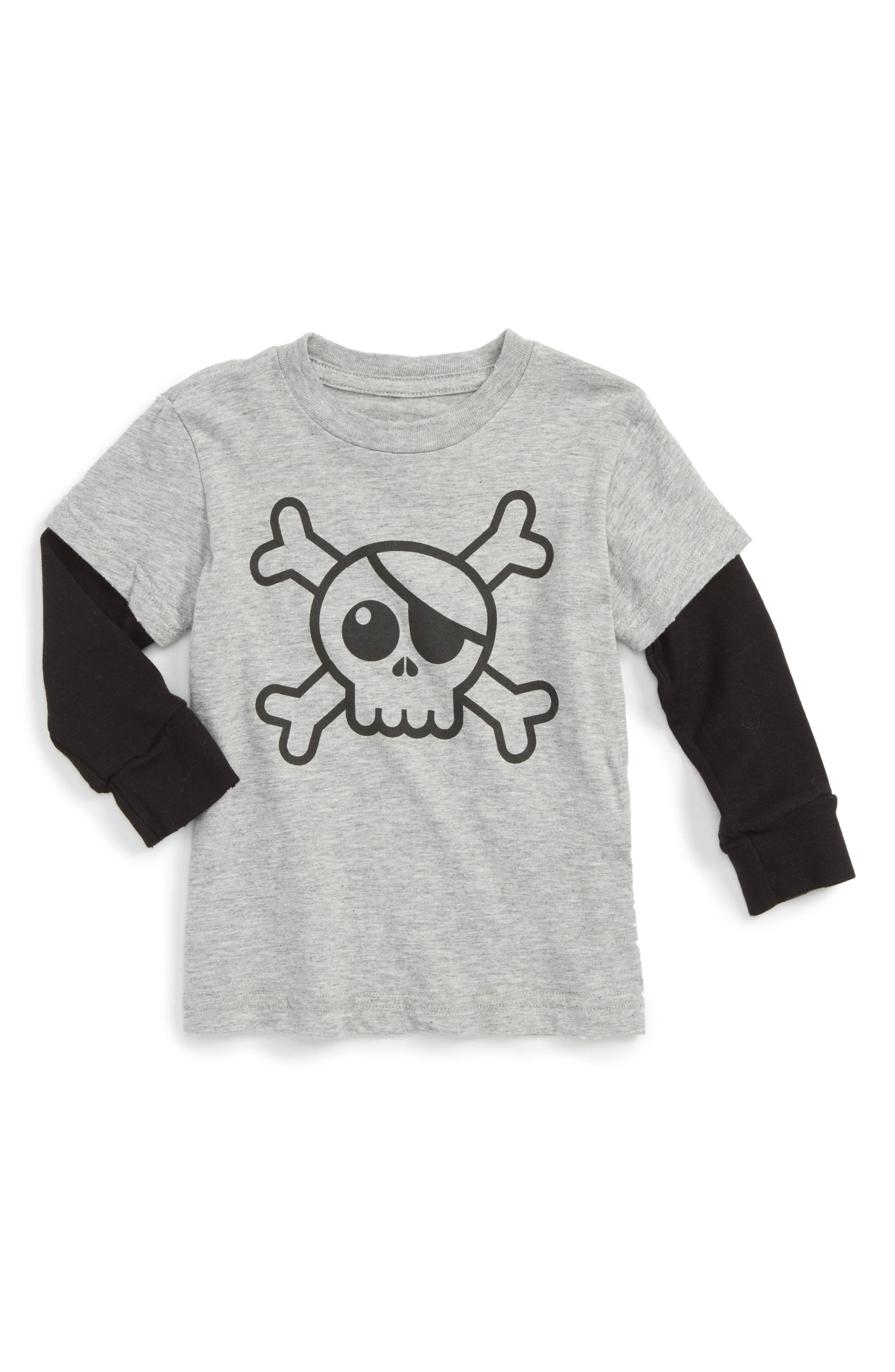 Skull Graphic T-Shirt,                         Main,                         color, Heather Grey
