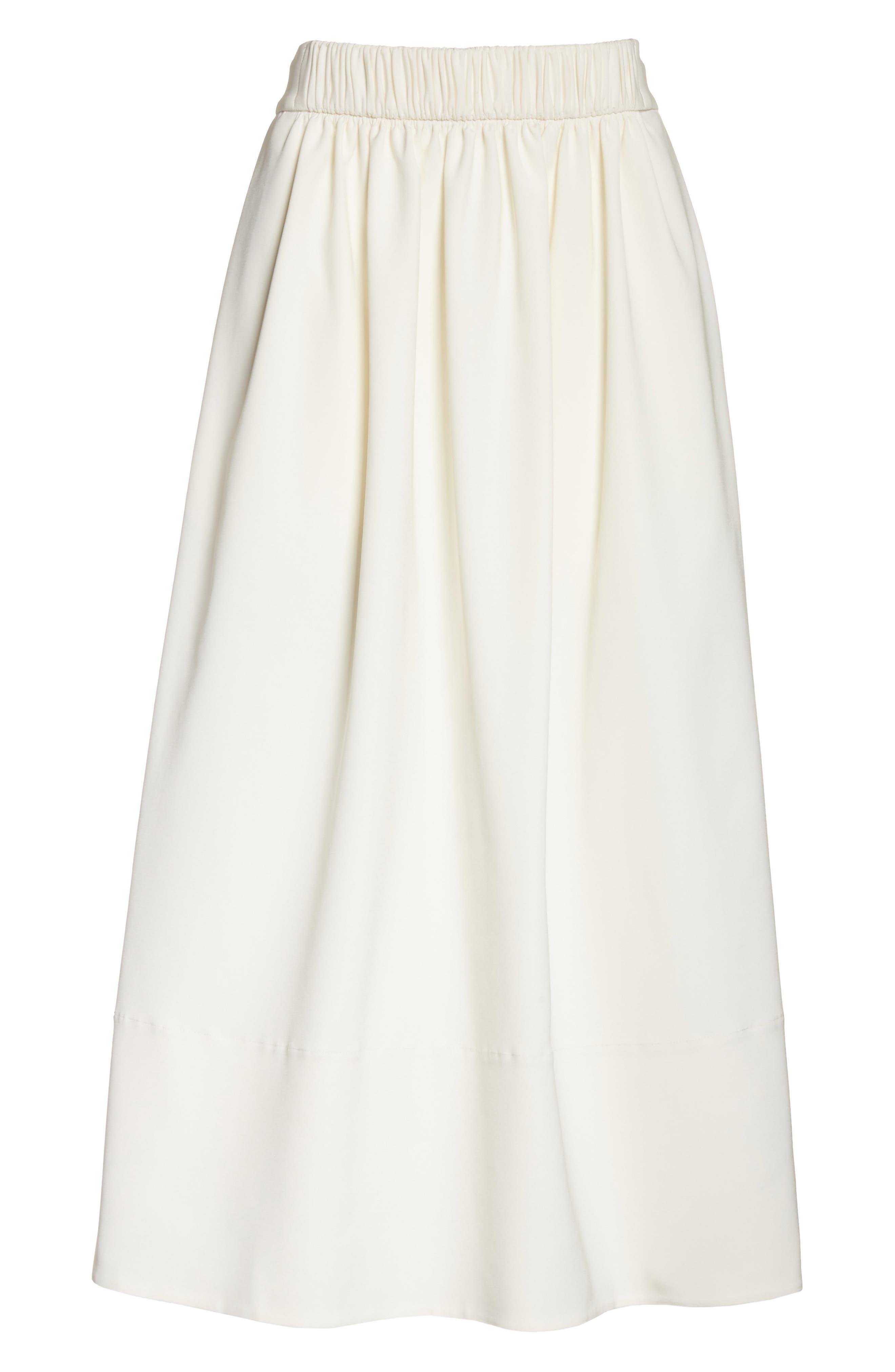 Stretch Faille Full Midi Skirt,                             Alternate thumbnail 6, color,                             Ivory