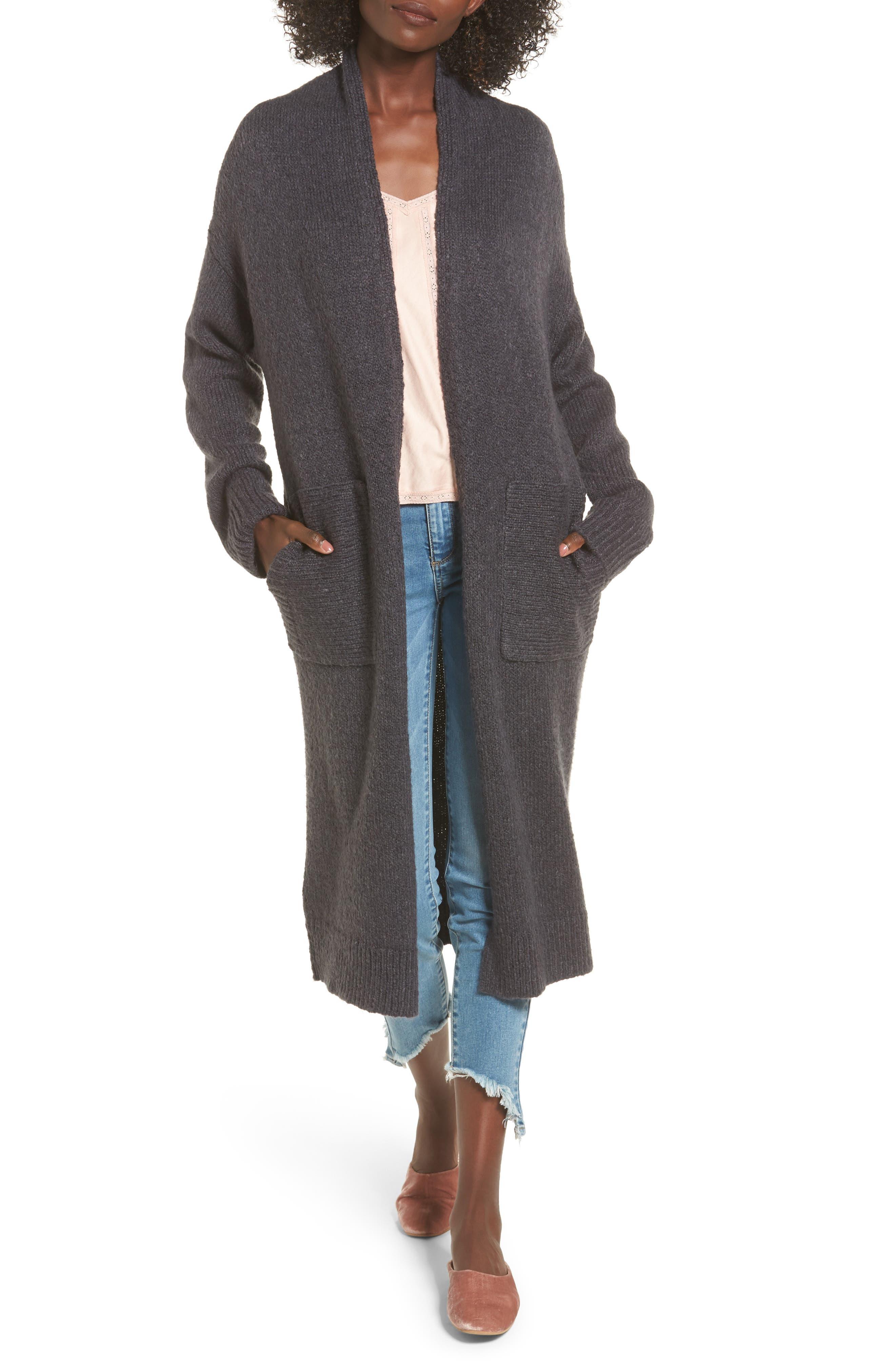 Longline Cardigan,                         Main,                         color, Grey Magnet