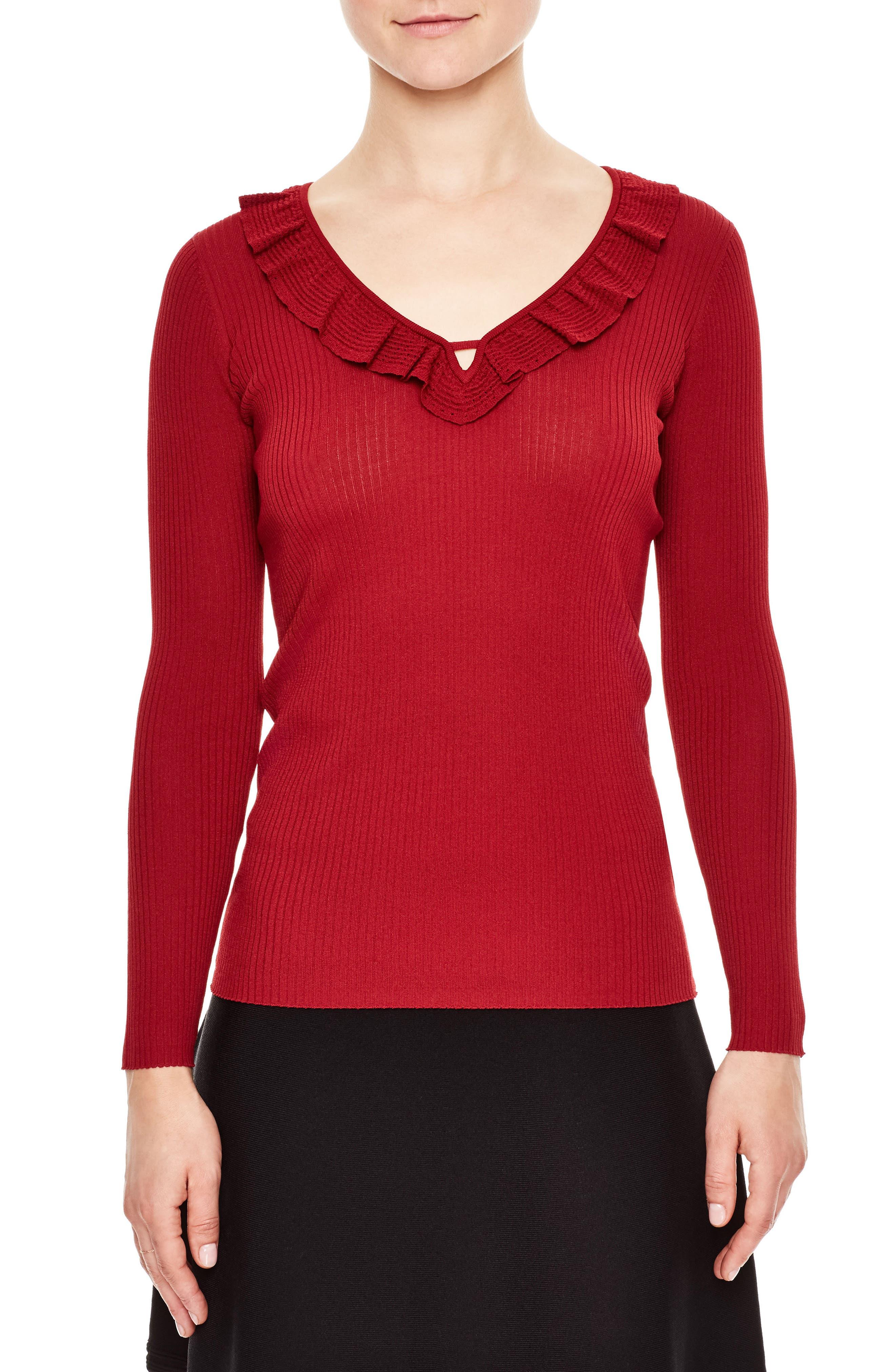 Ruffle Trim V-Neck Sweater,                         Main,                         color, Garnet