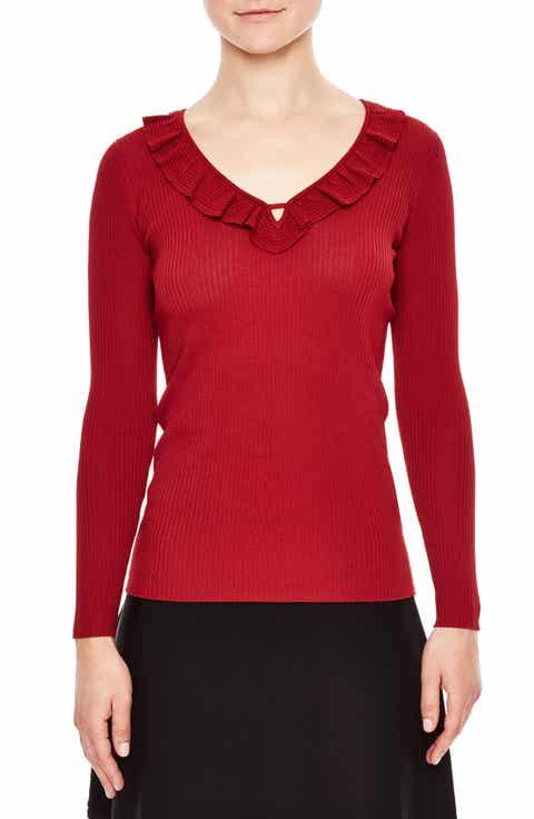 sandro Ruffle Trim V-Neck Sweater