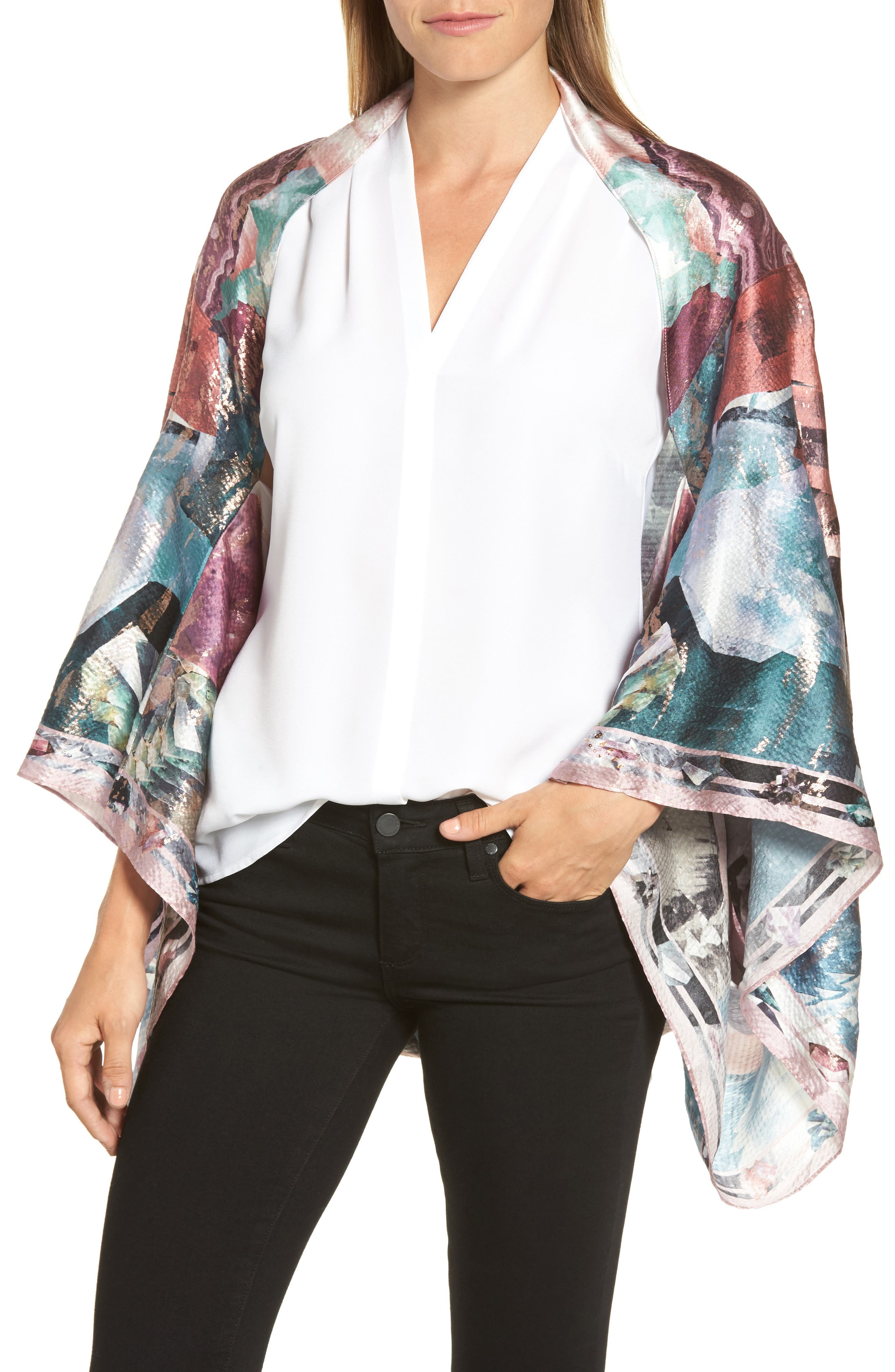 Ted Baker London Mirrored Minerals Silk Cape Scarf