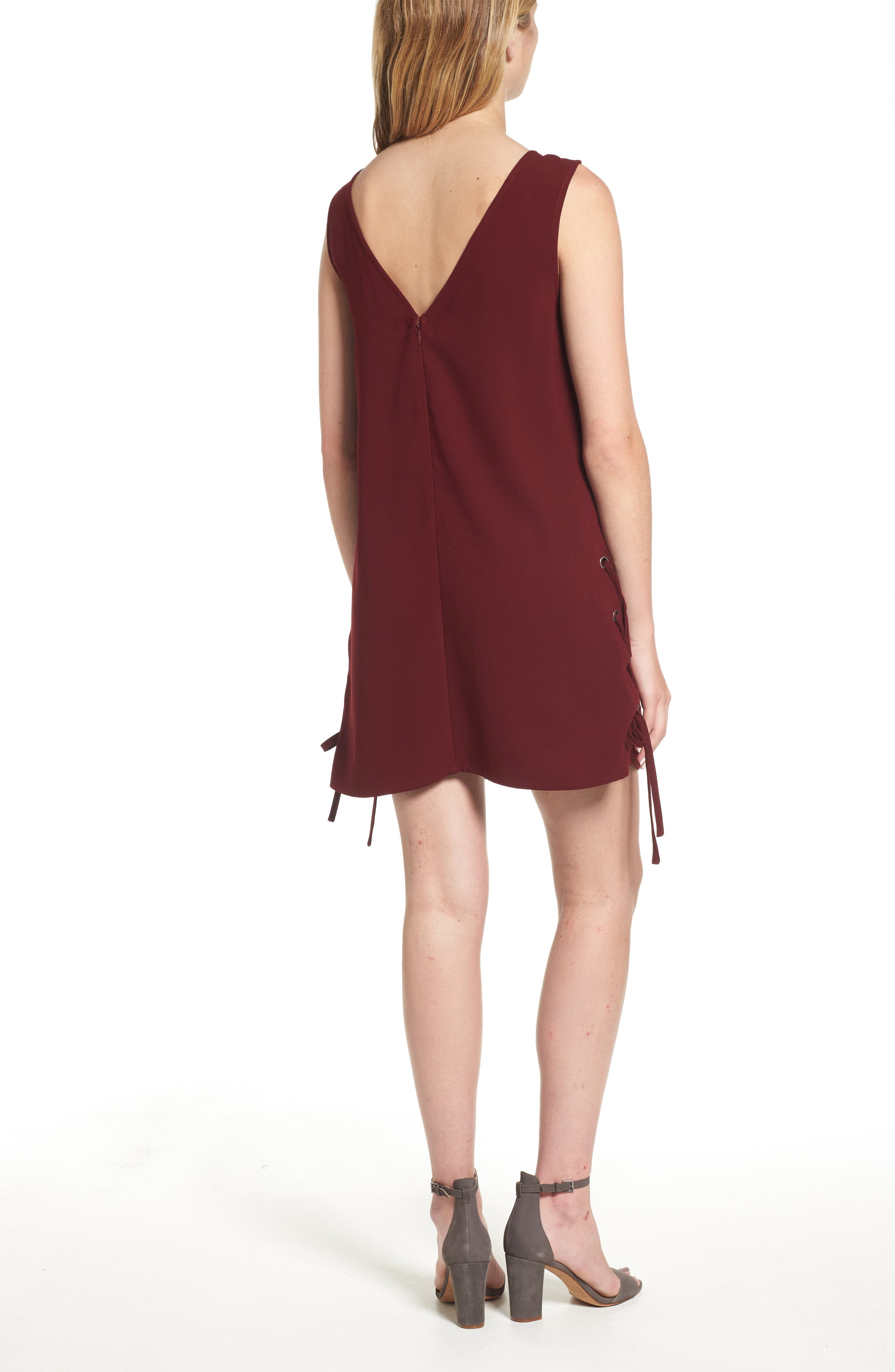 Timberly Lace-Up Shift Dress,                             Alternate thumbnail 2, color,                             Port