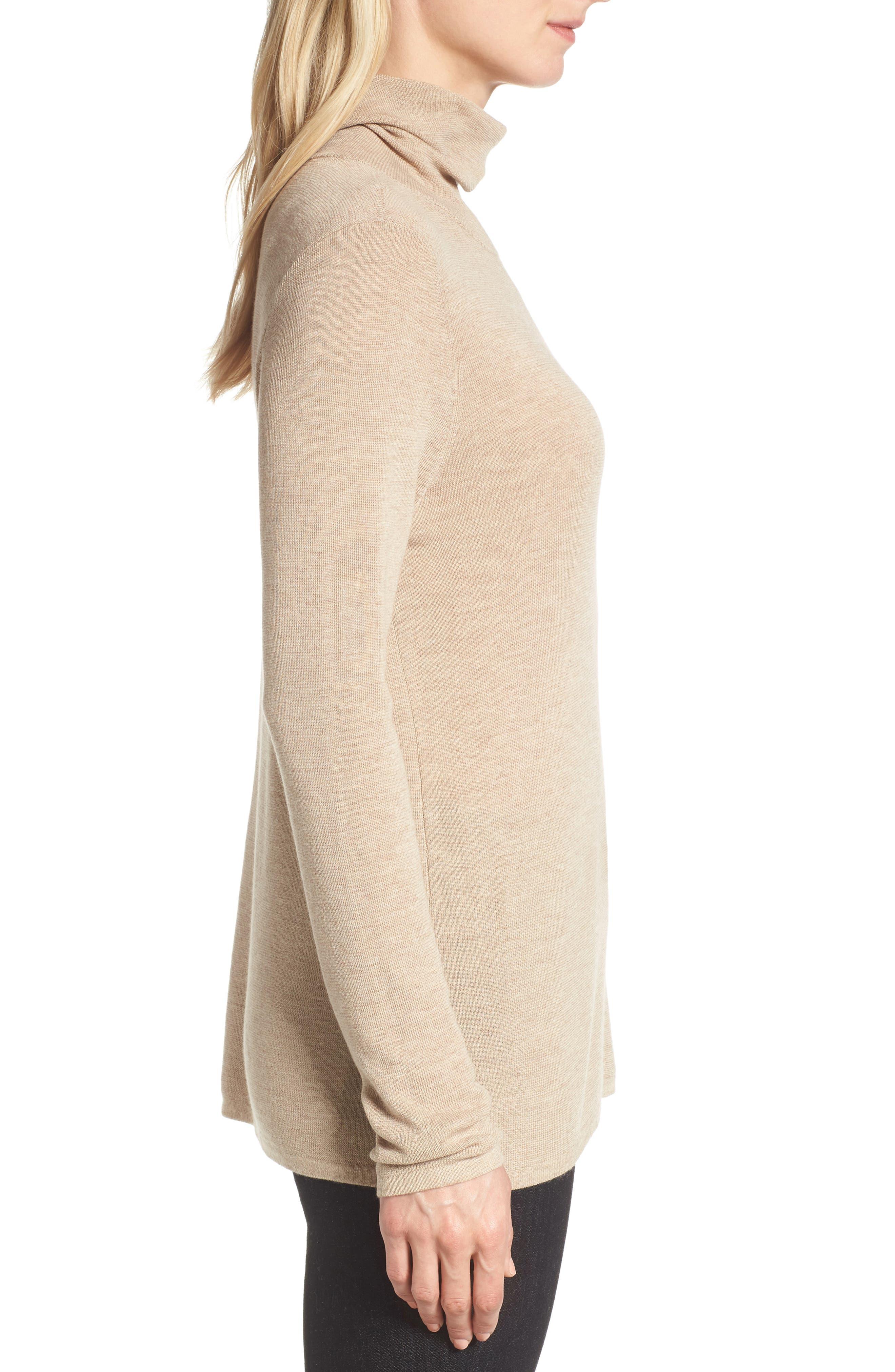 The Fisher Project Ultrafine Merino Turtleneck Sweater,                             Alternate thumbnail 3, color,                             Maple Oat
