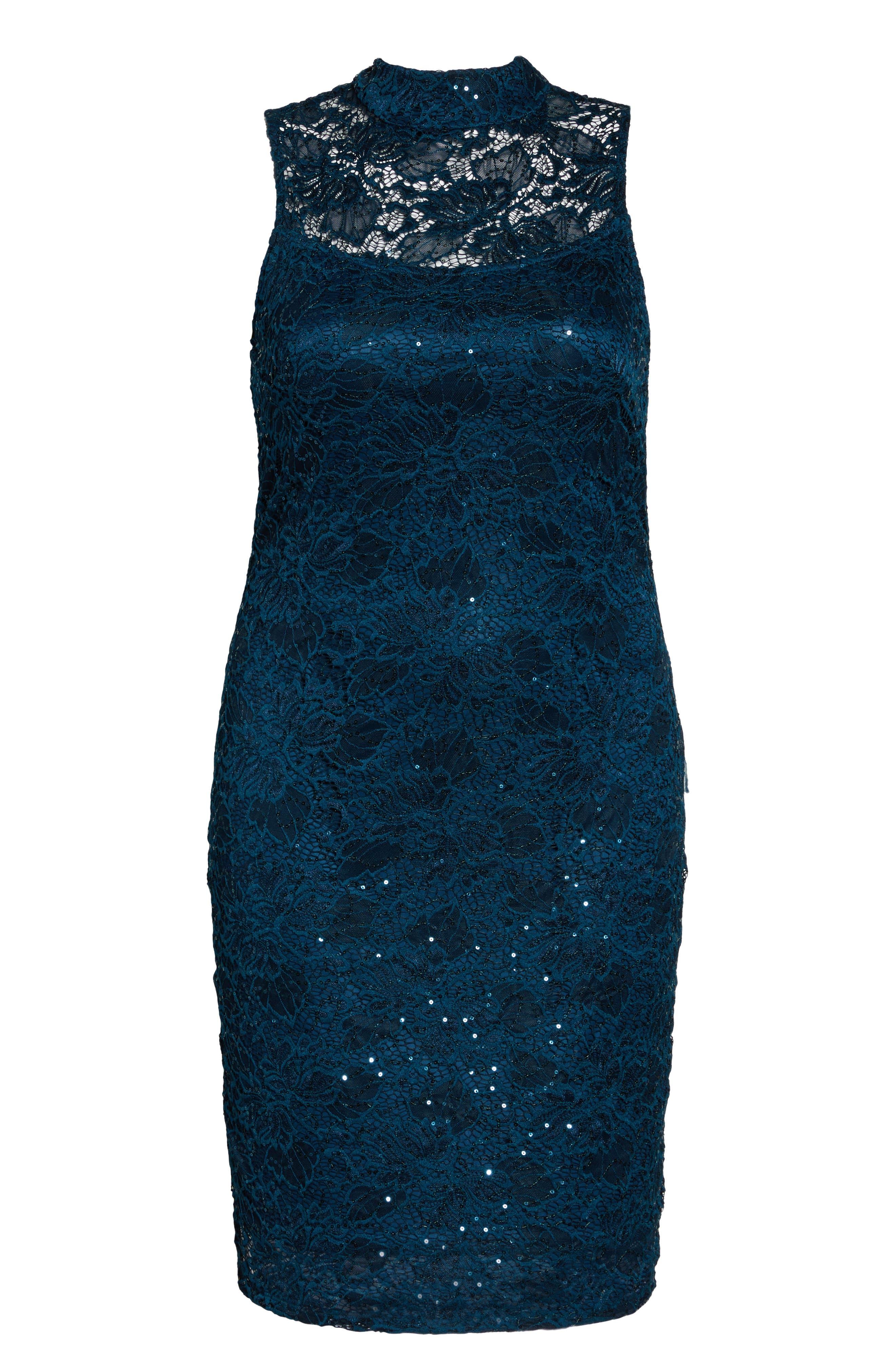 Sequin Lace Sheath Dress,                             Main thumbnail 1, color,                             Teal
