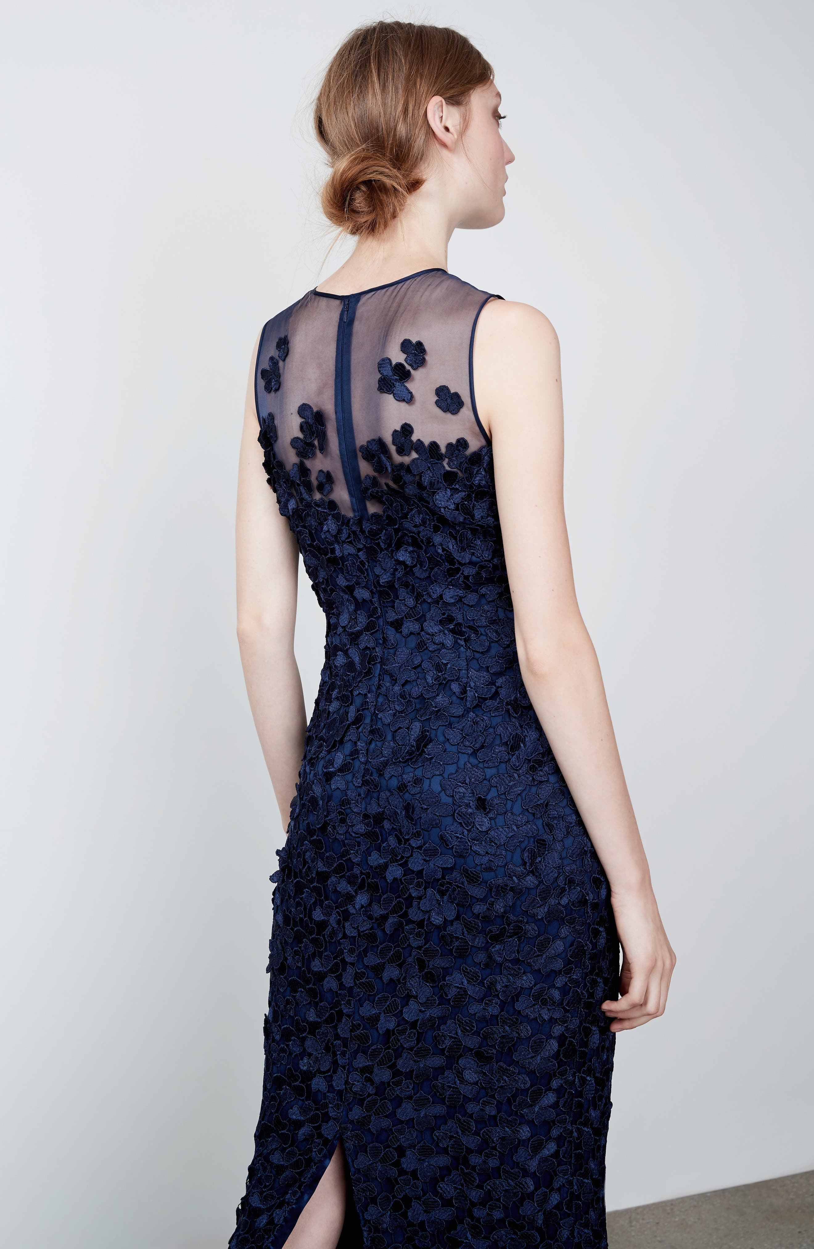 Alternate Image 6  - Carmen Marc Valvo Floral Lace Column Gown